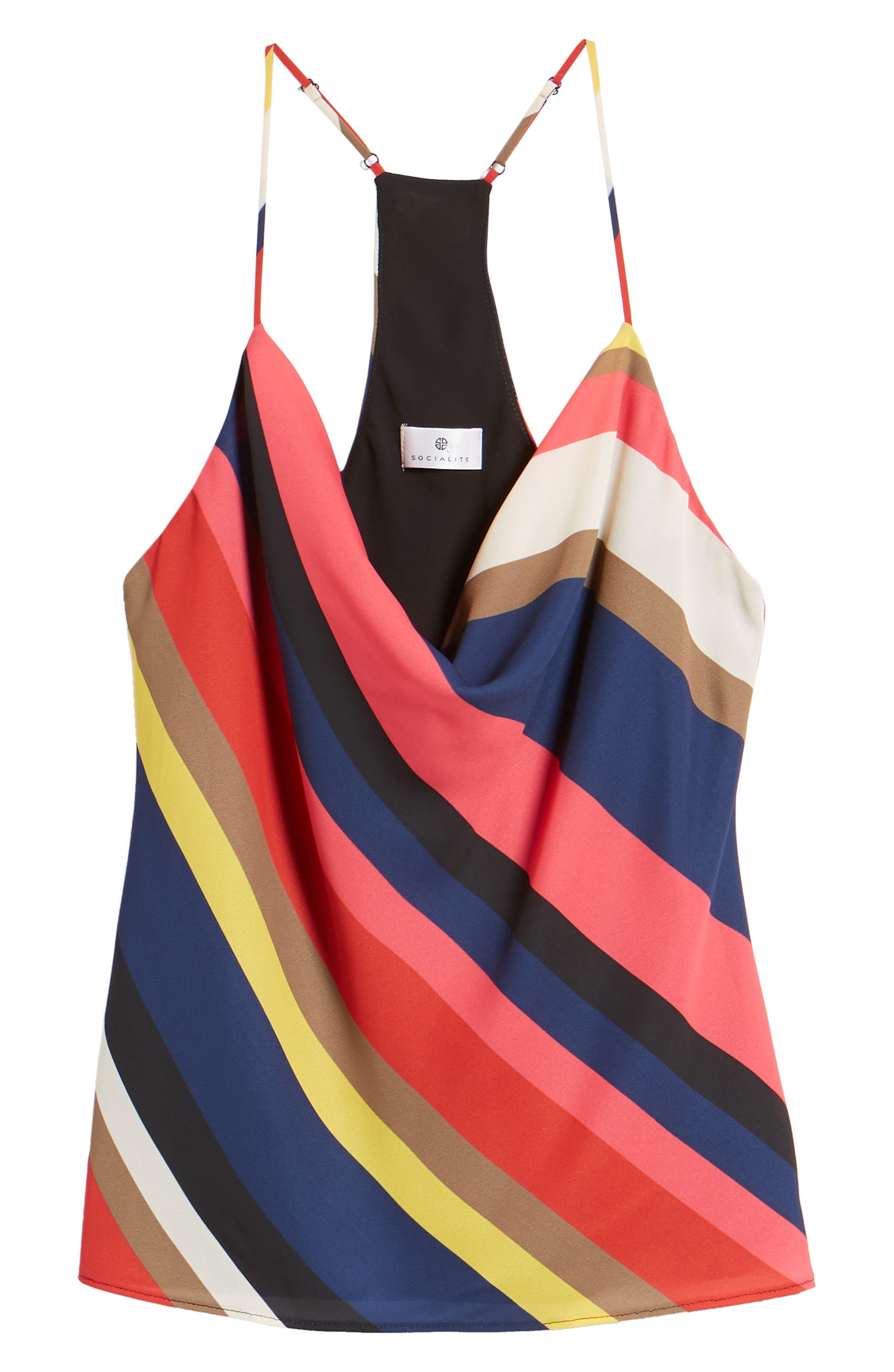 Stripe Cowl Neck Tank,                             Alternate thumbnail 6, color,                             BLACK/ RED/ FUCHSIA