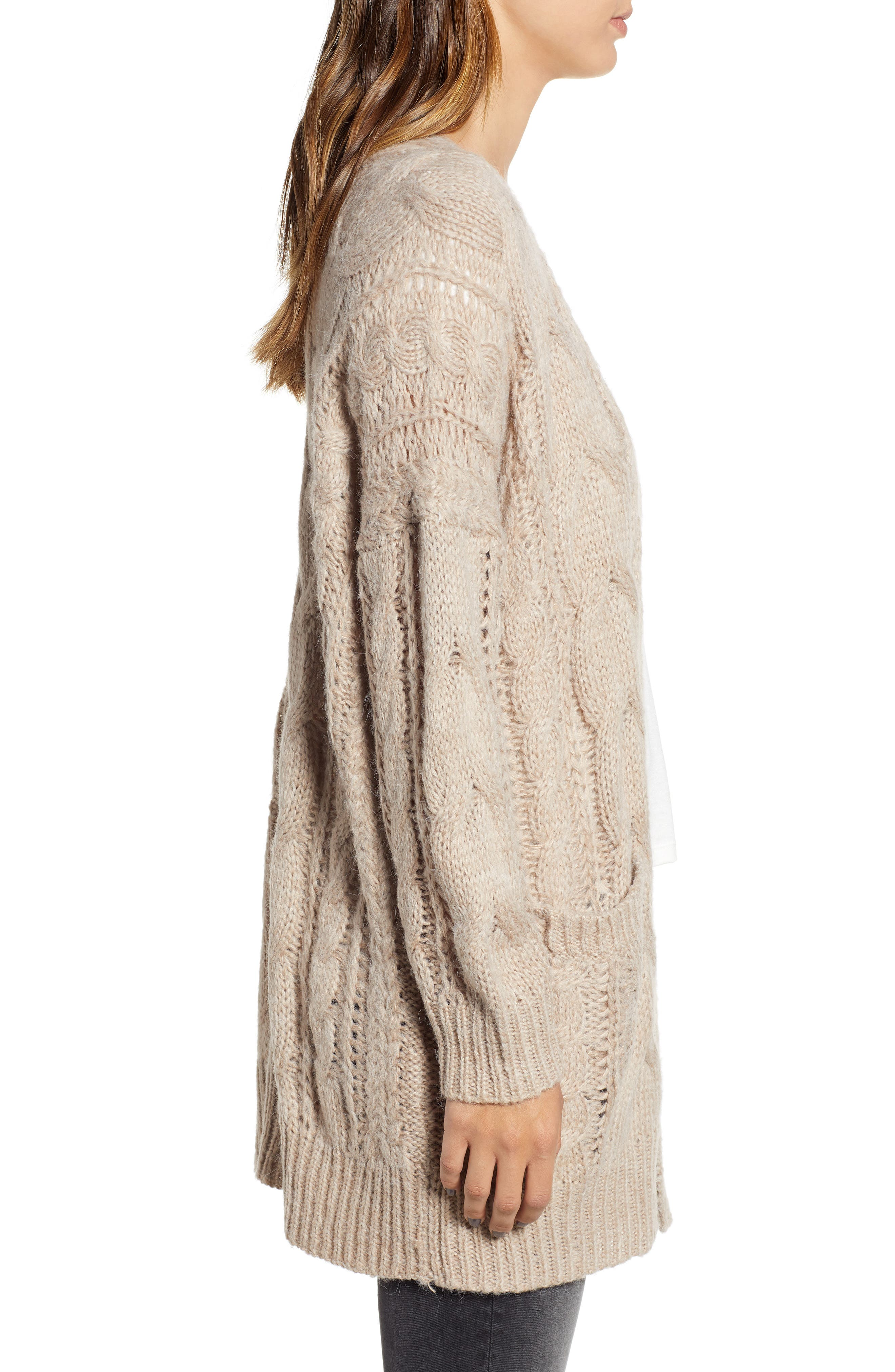 Chunky Cable Knit Cardigan,                             Alternate thumbnail 3, color,                             TAUPE