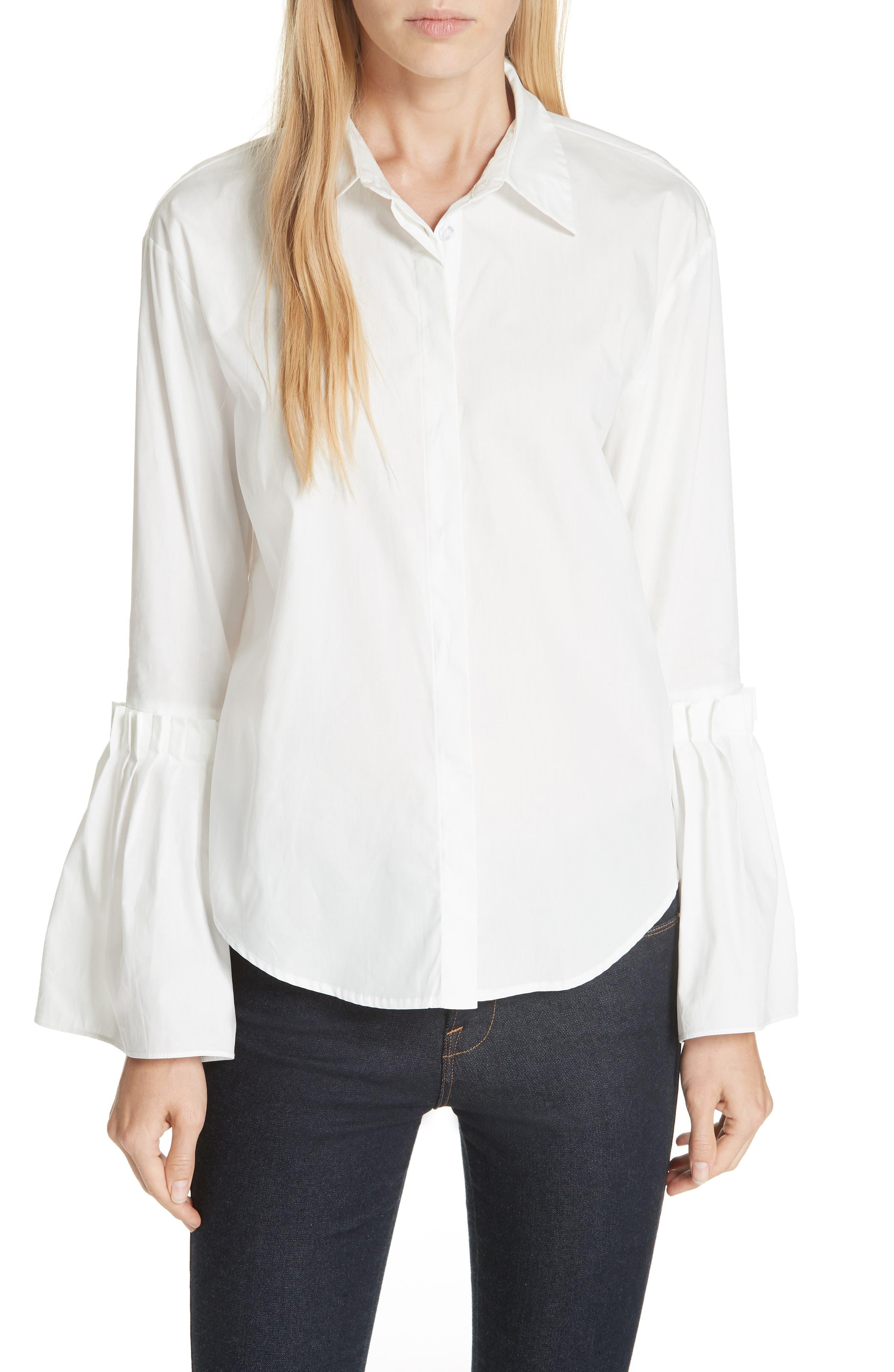 Flare Cuff Poplin Blouse,                         Main,                         color, WHITE