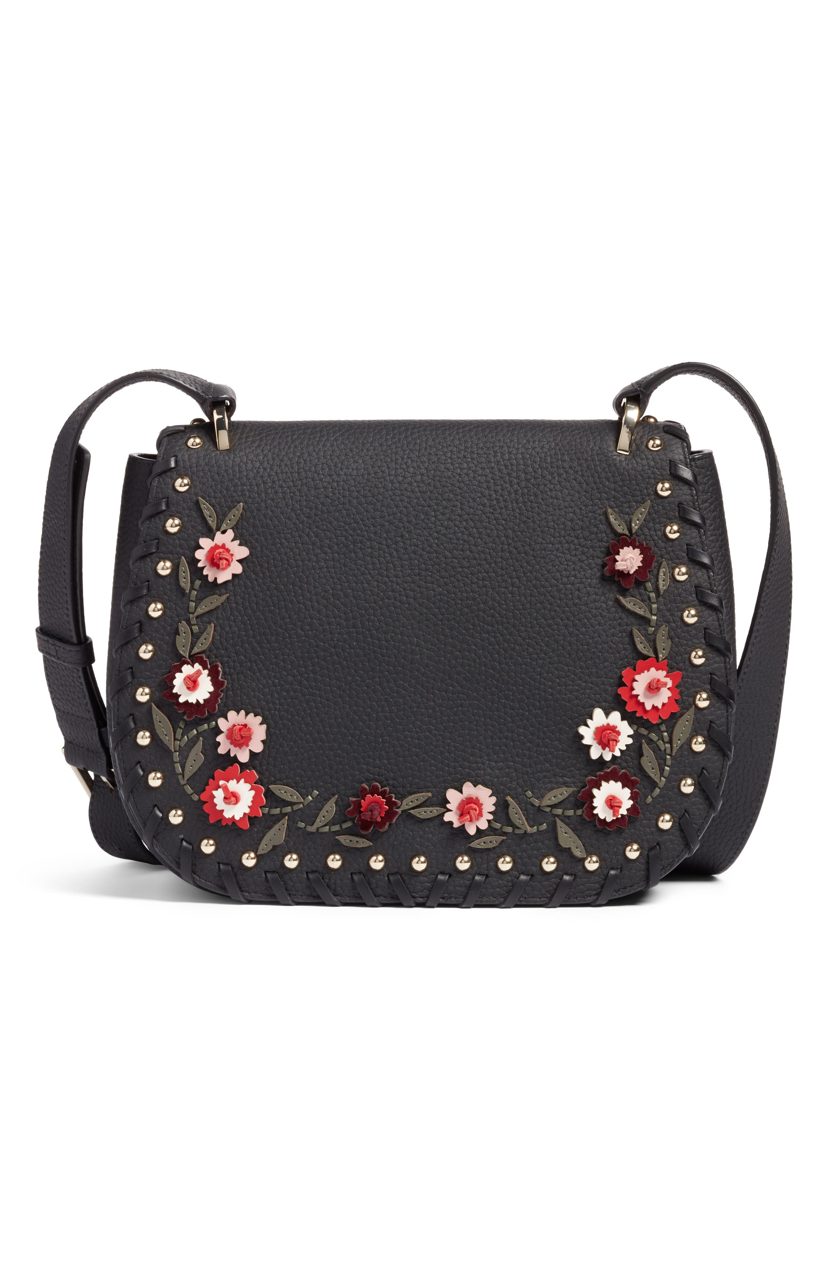 madison daniels drive - tressa embellished leather crossbody bag,                             Main thumbnail 1, color,                             001