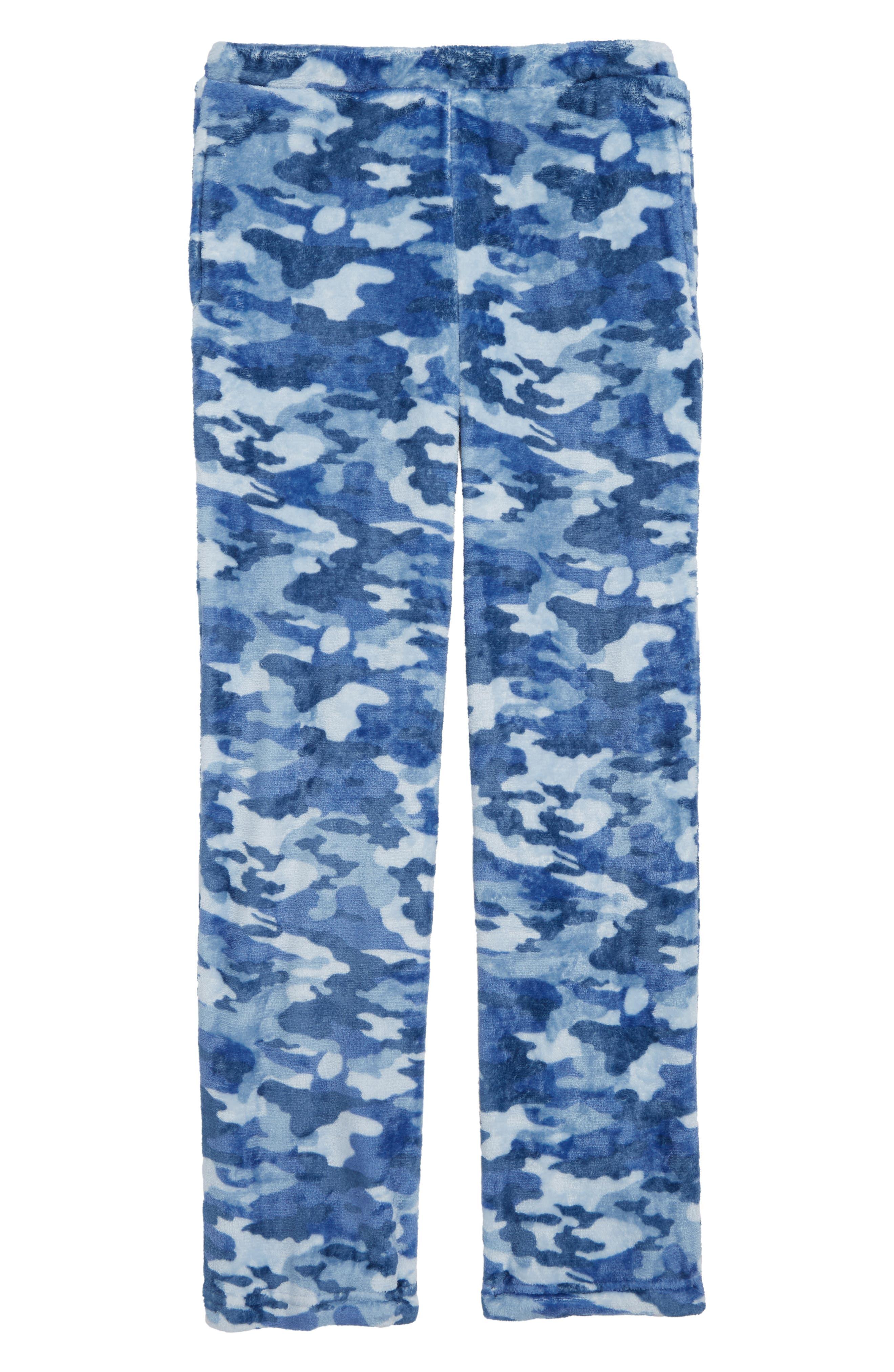 Camo Fleece Pajama Pants,                             Main thumbnail 1, color,                             NAVY