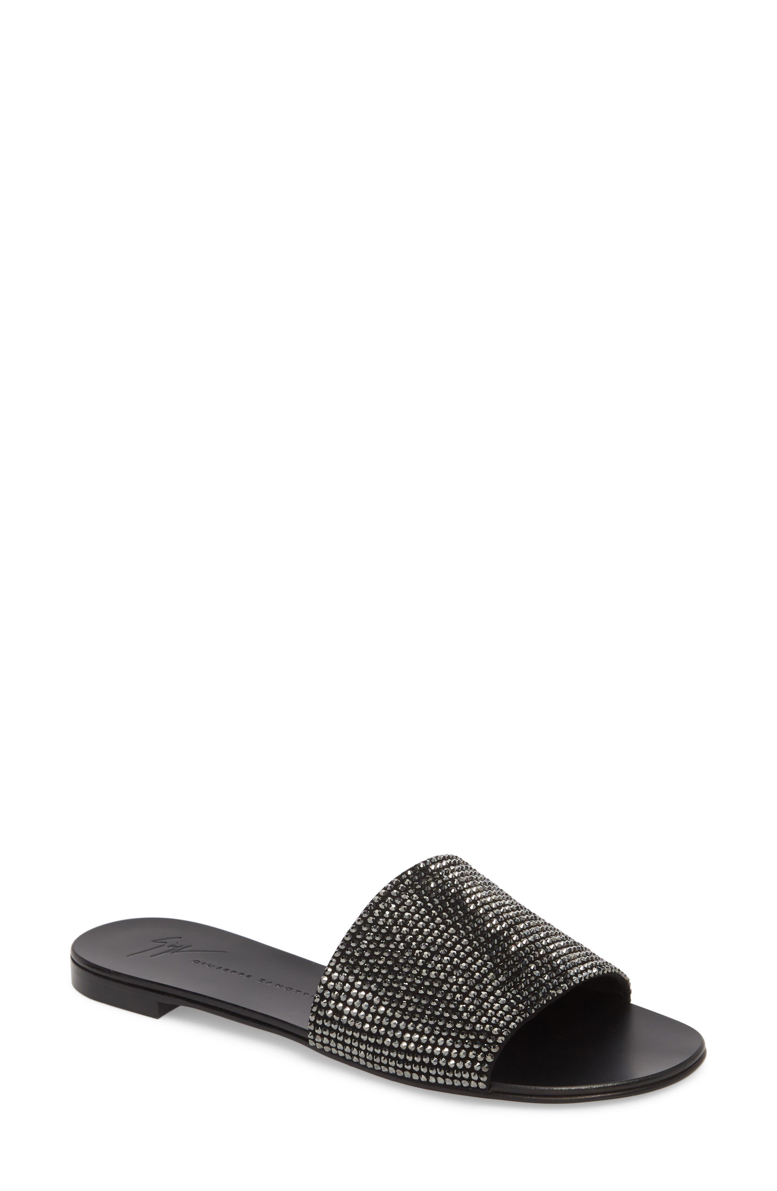 Crystal Embellished Slide Sandal,                             Main thumbnail 1, color,                             BLACK