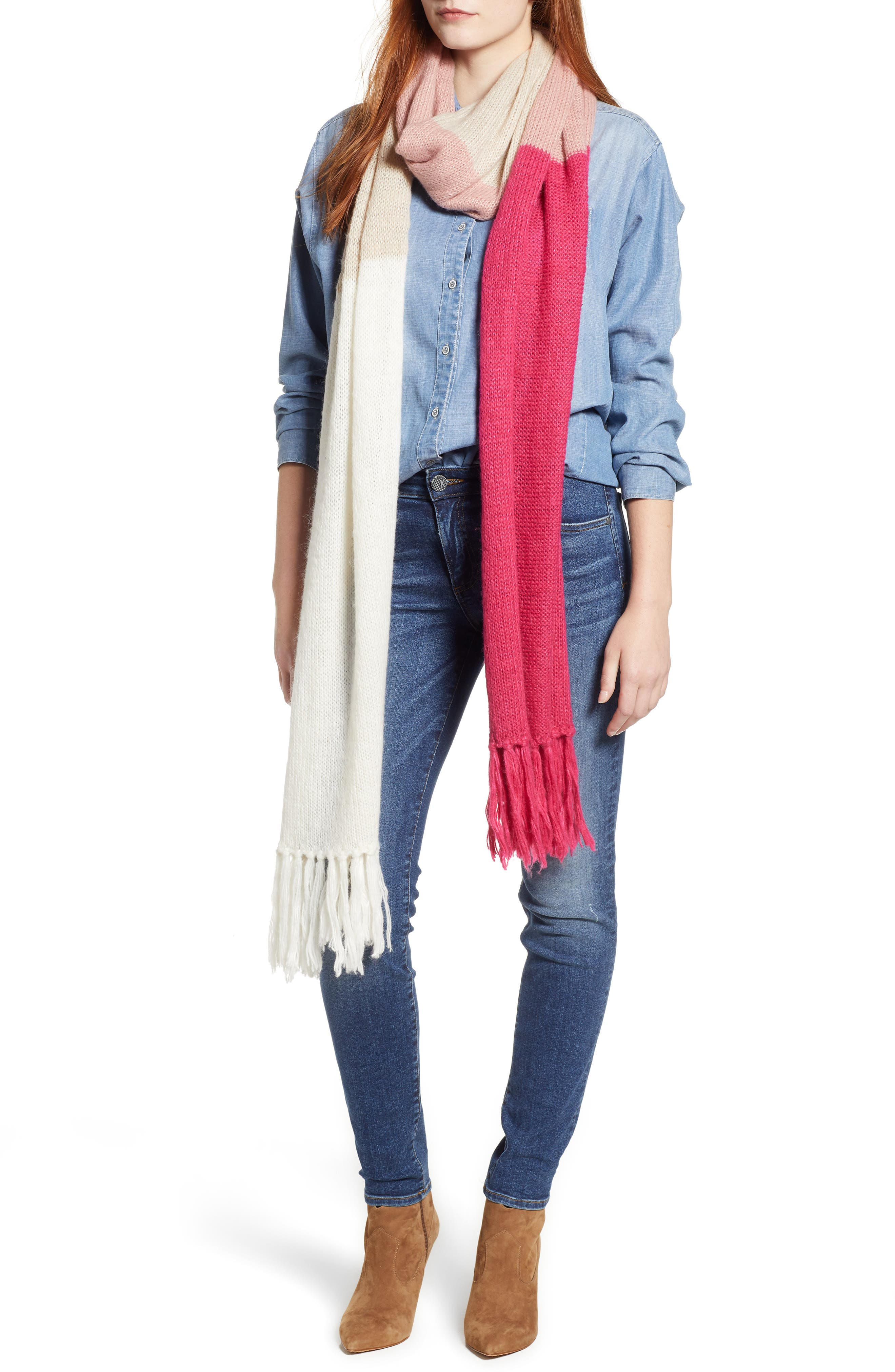 brushed colorblock blanket scarf,                         Main,                         color, CREAM/ OATMEAL/ PEONY/ BEGONIA