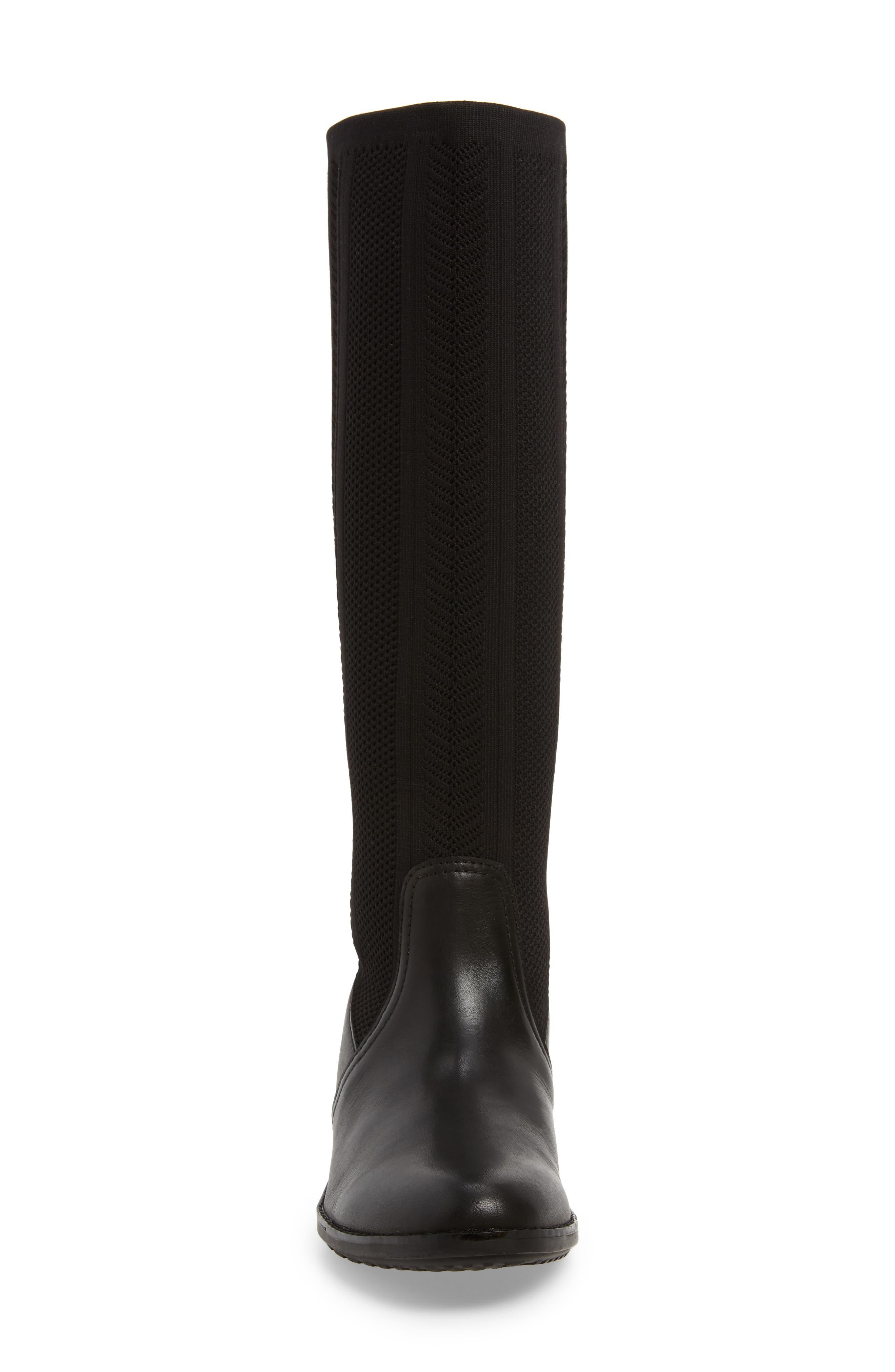 Belle Sock Knit Shaft Boot,                             Alternate thumbnail 4, color,                             BLACK LEATHER