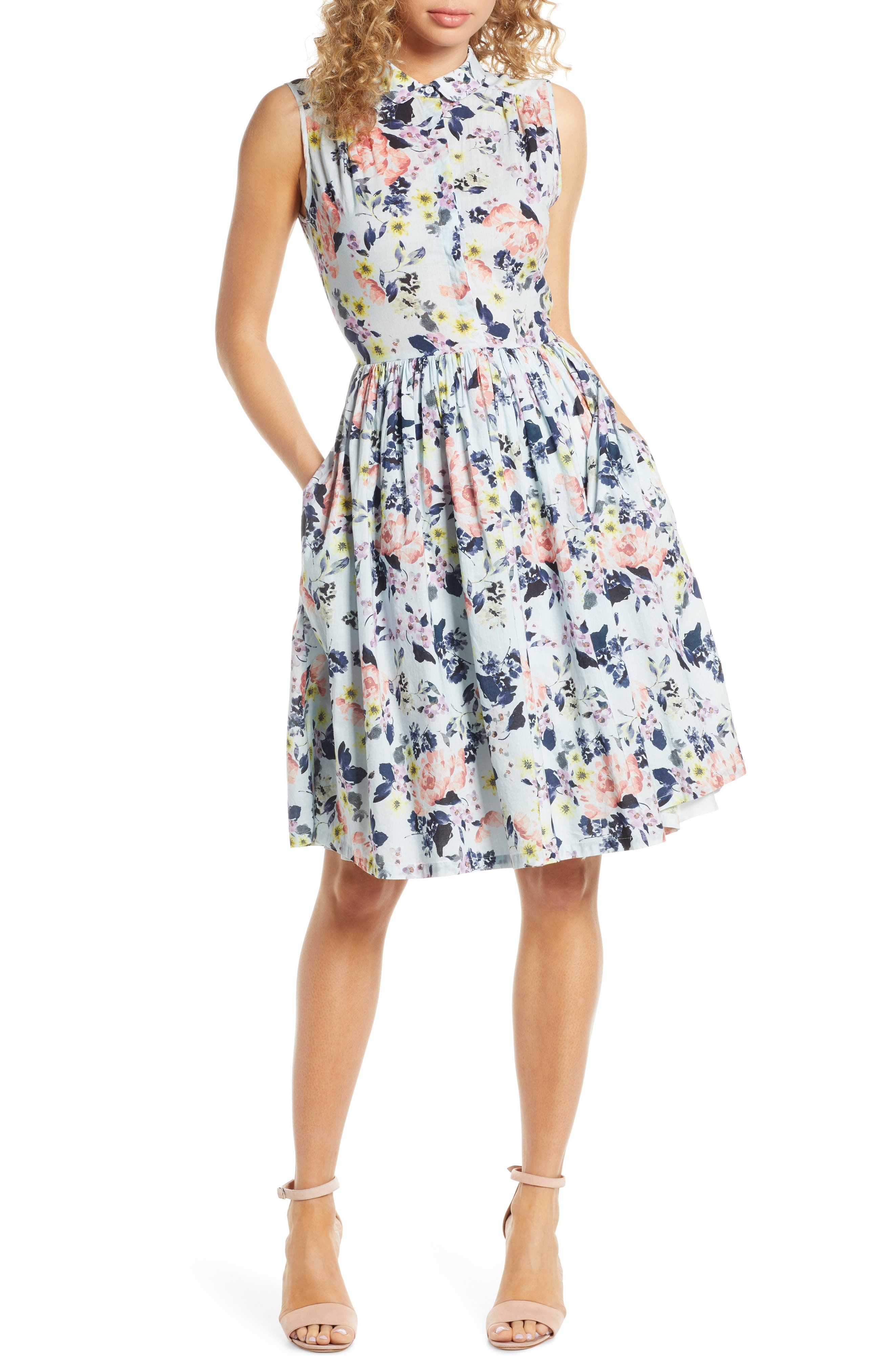 French Connection Armoise Voile Fit & Flare Dress, Blue