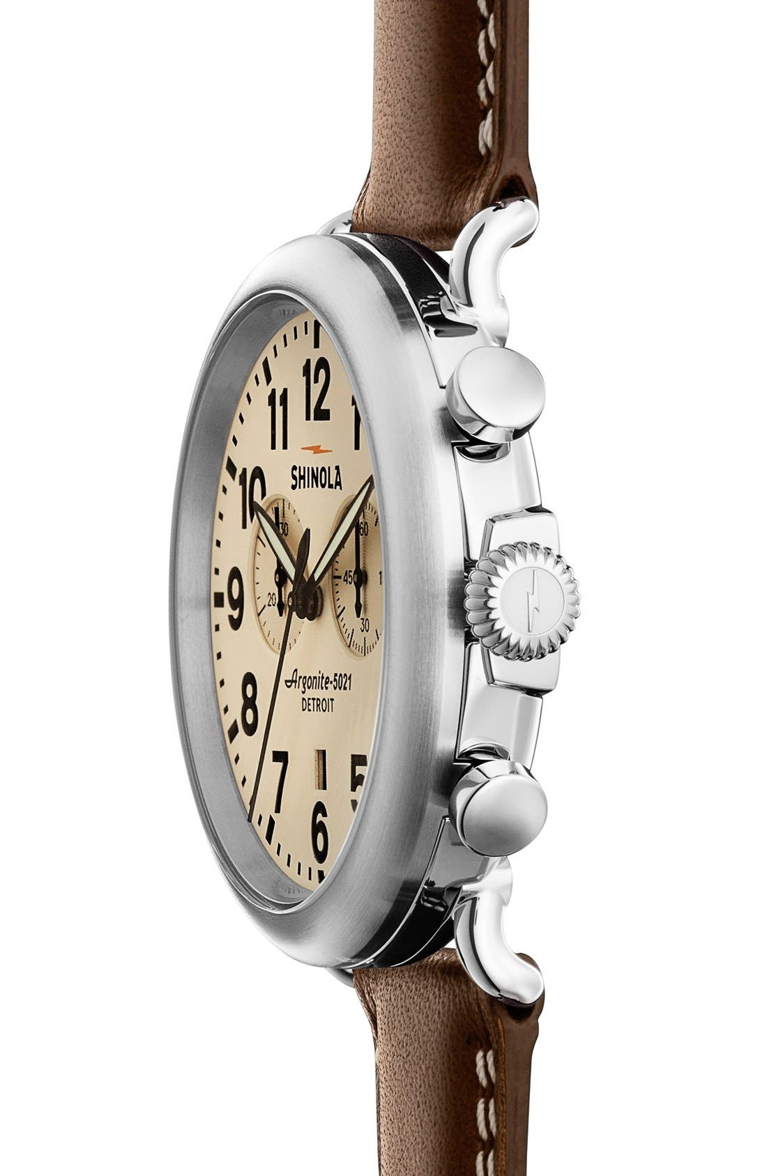 The Runwell Chrono Leather Strap Watch, 47mm,                             Main thumbnail 11, color,