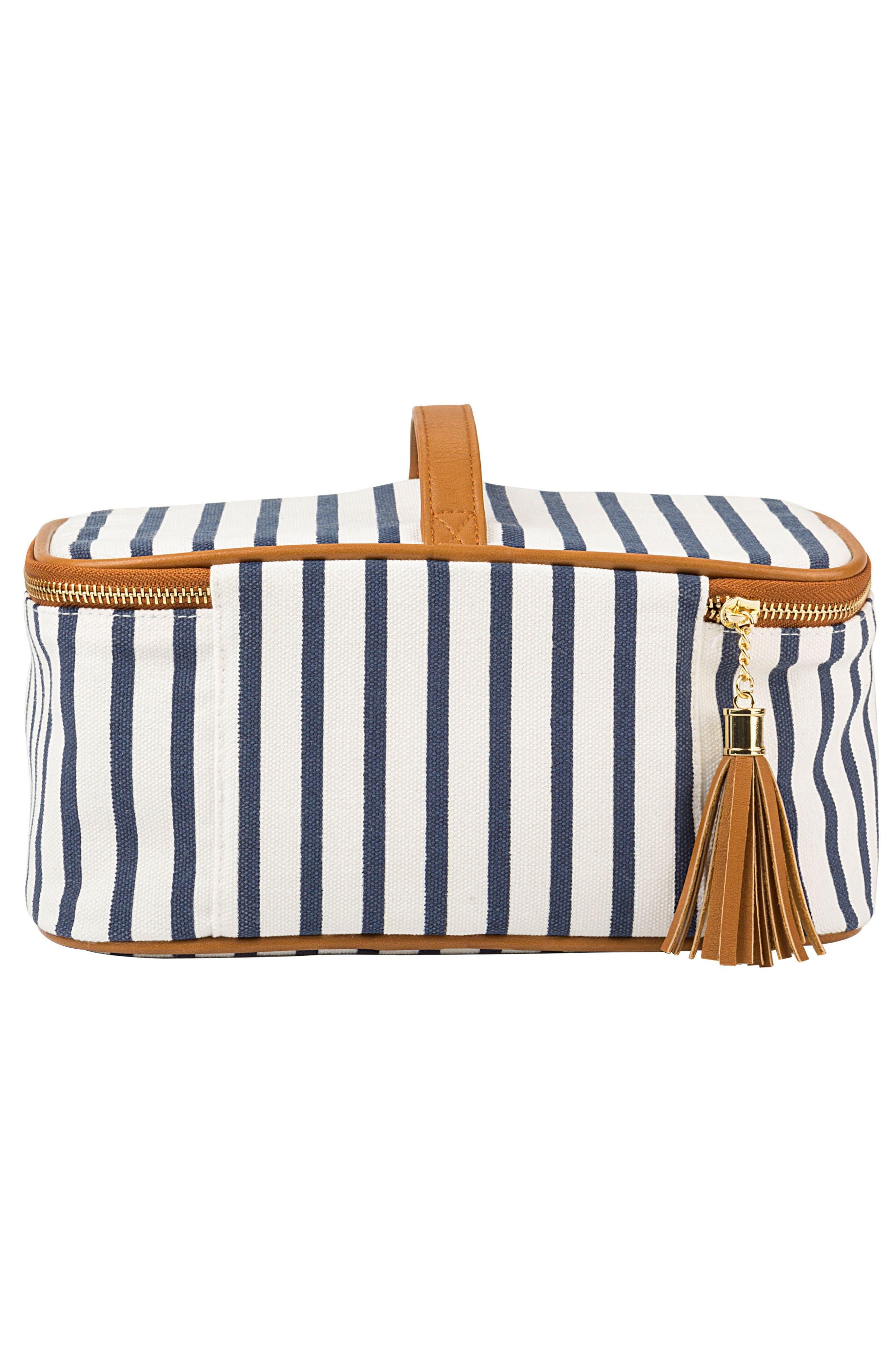 Monogram Stripe Canvas Cosmetics Case,                             Alternate thumbnail 2, color,                             BLUE