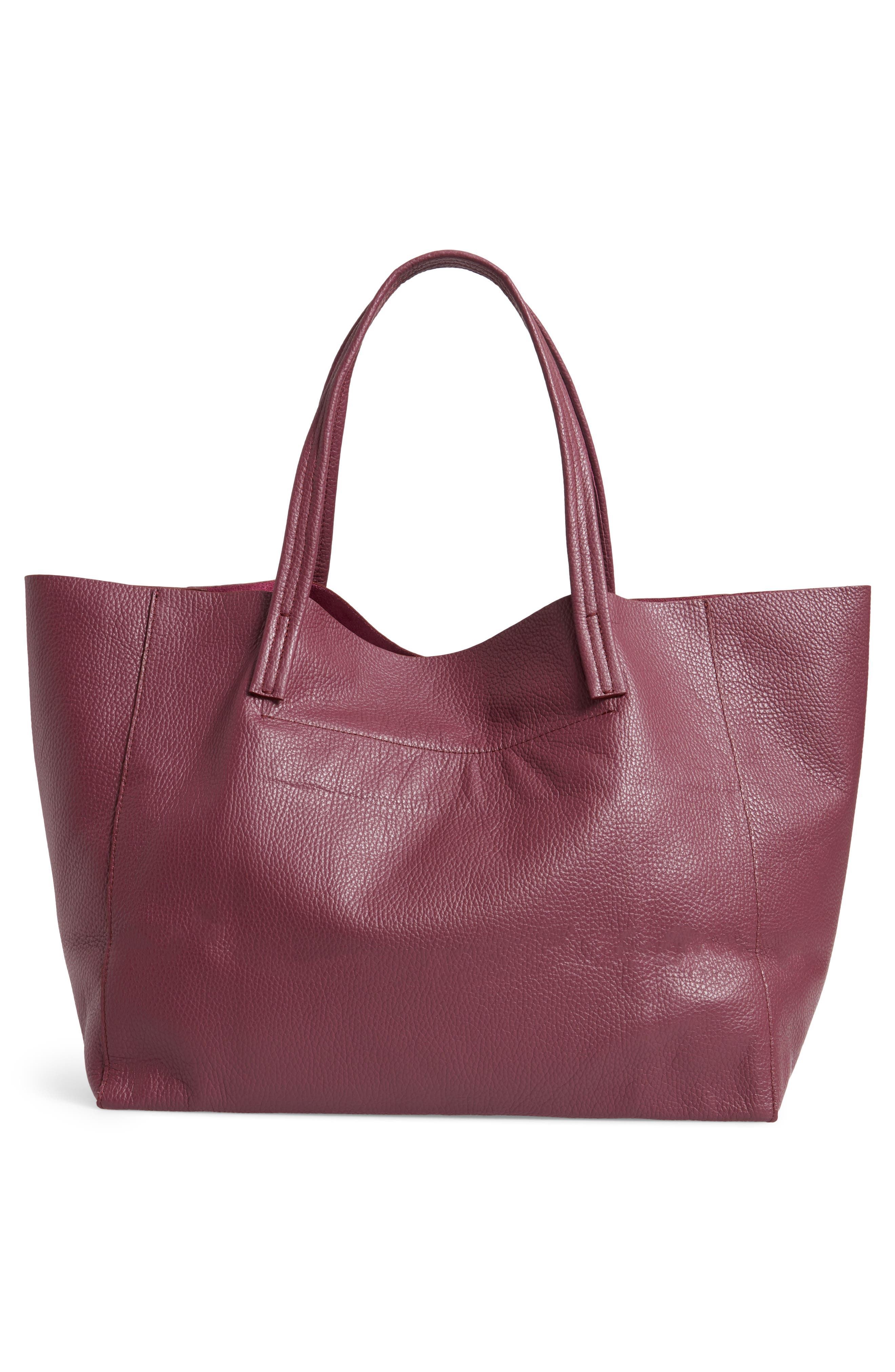 Violet Leather Tote,                             Alternate thumbnail 3, color,                             RED/ OTHER