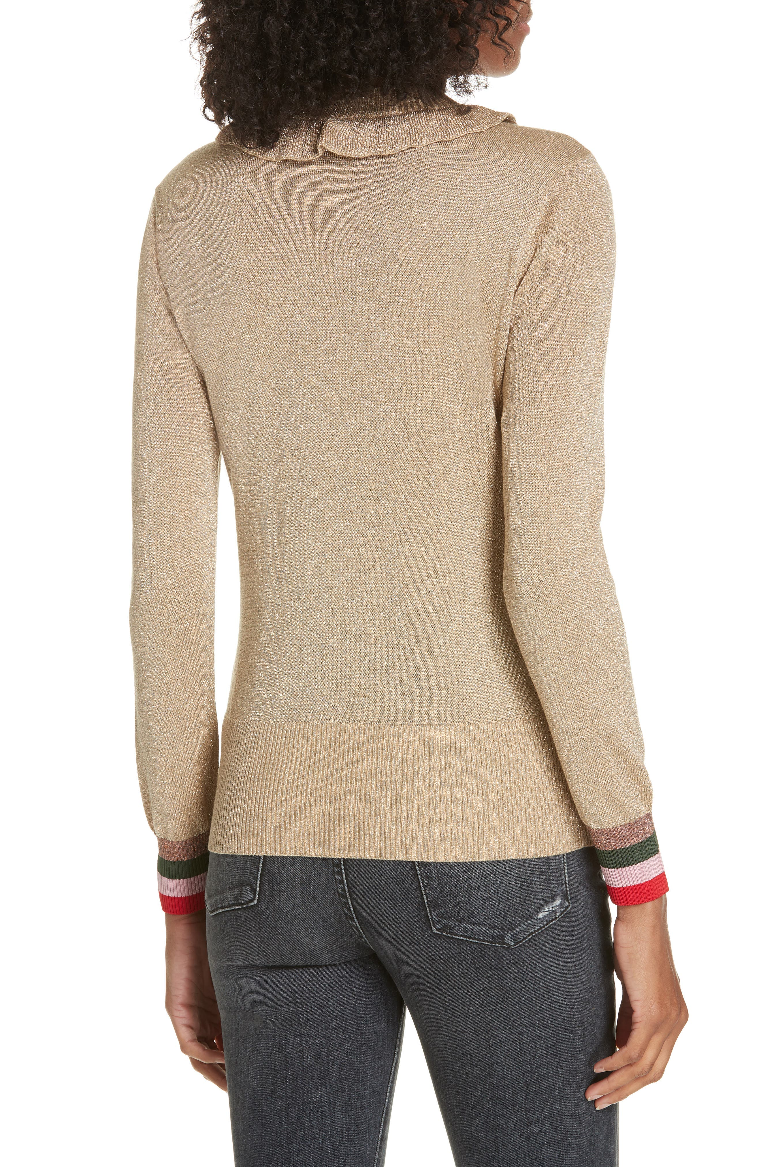 Colour by Numbers Hawen Metallic Knit Sweater,                             Alternate thumbnail 2, color,                             GOLD