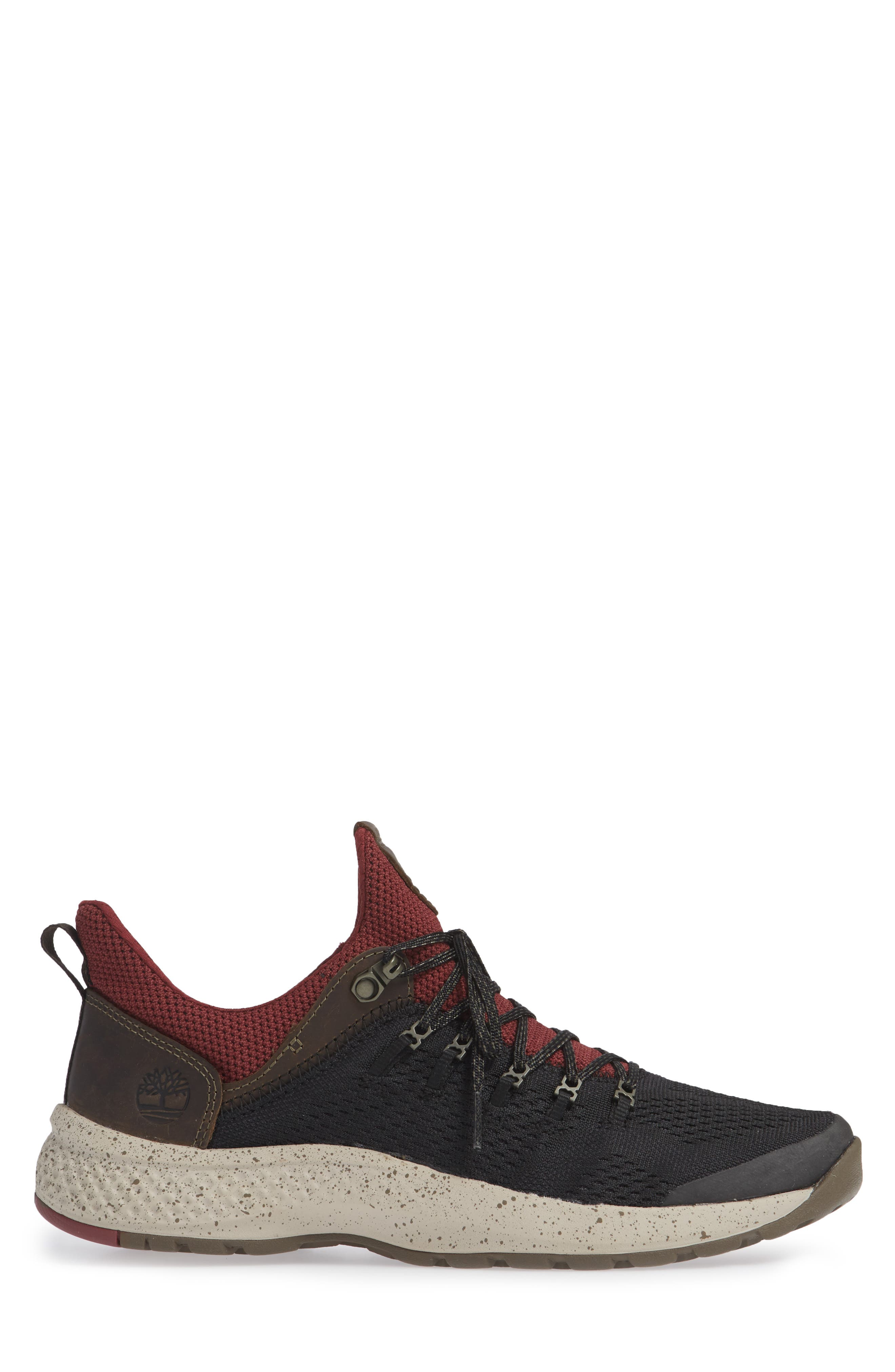 FlyRoam Trail Sneaker,                             Alternate thumbnail 3, color,                             BLACK/ BURGUNDY