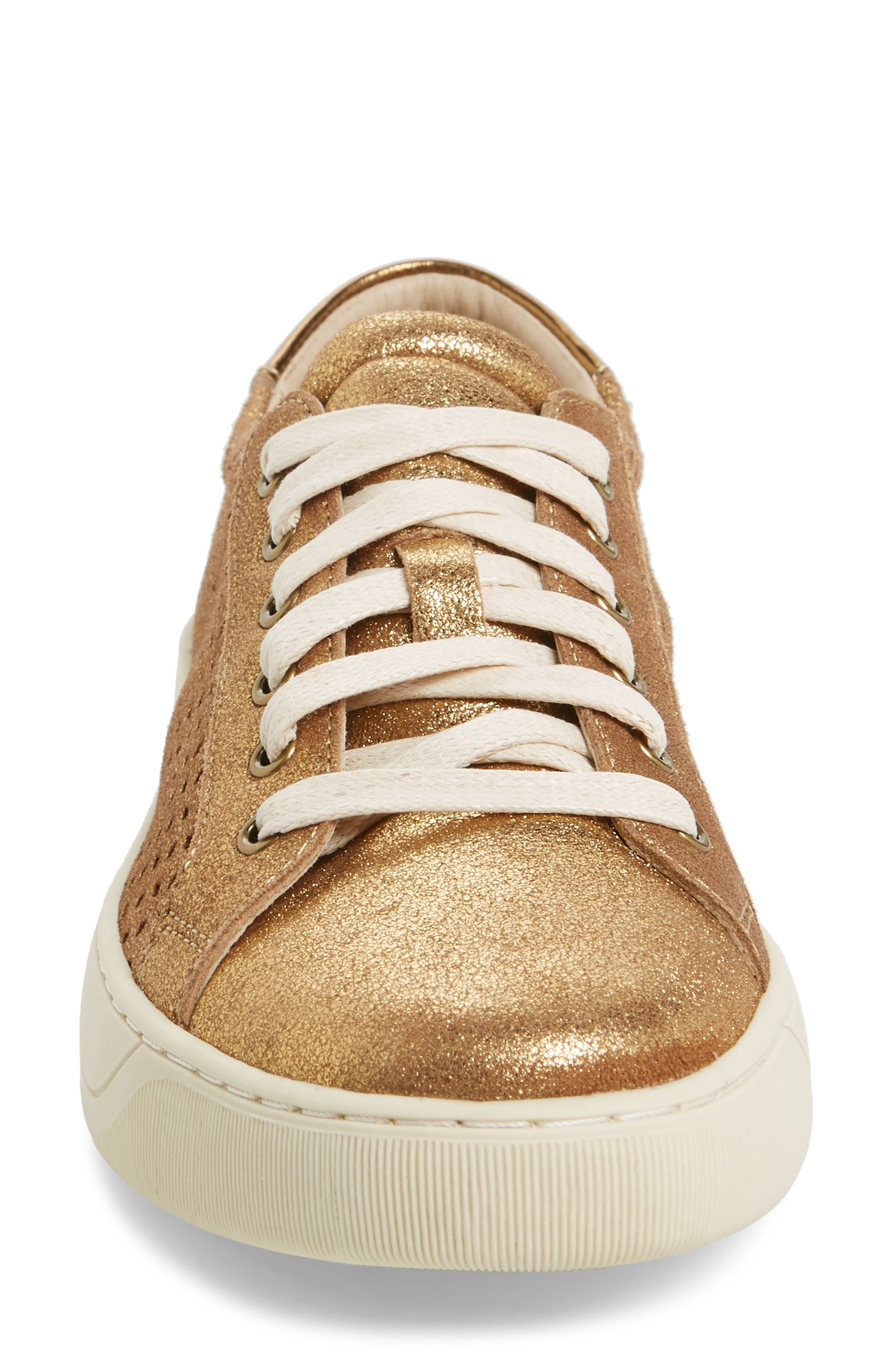 Emerson Perforated Sneaker,                             Alternate thumbnail 4, color,                             GOLD SUEDE