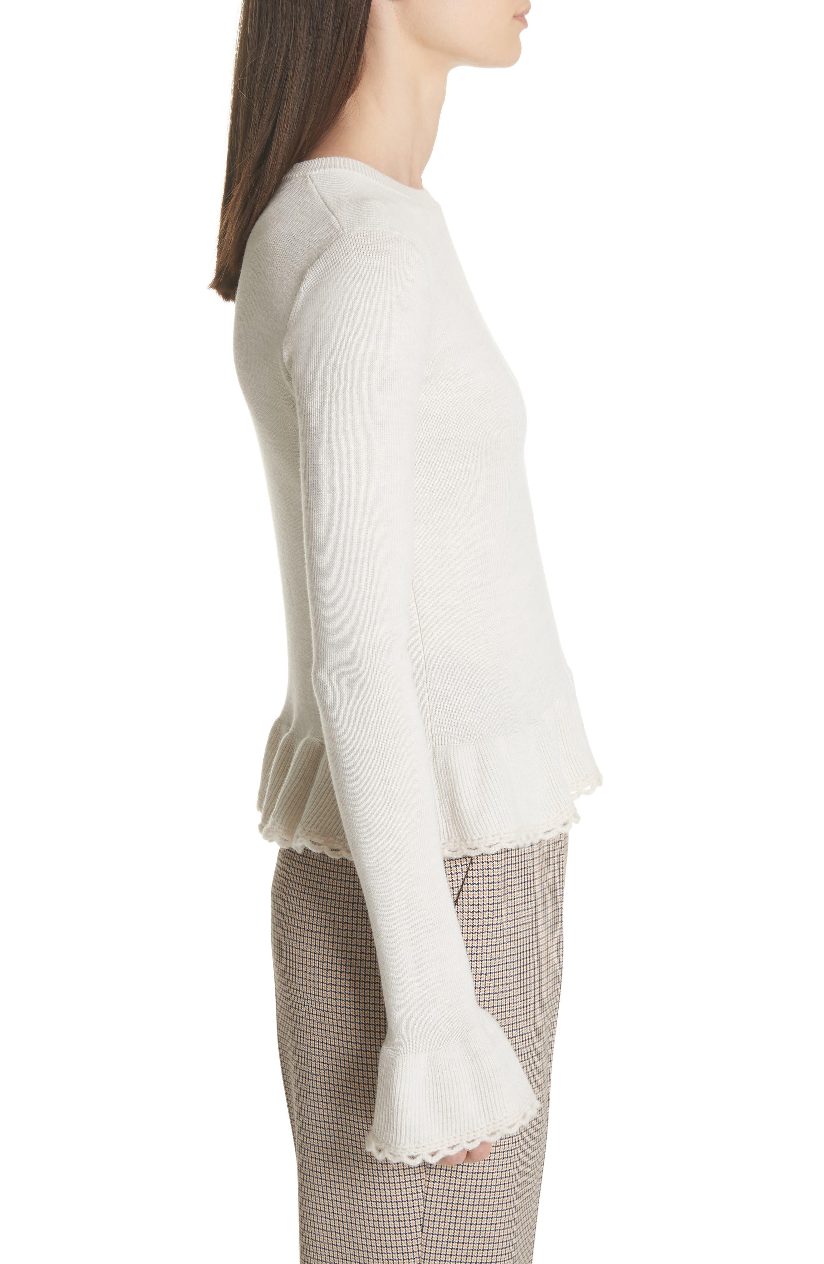 Peplum Wool Sweater,                             Alternate thumbnail 3, color,                             MISTY IVORY
