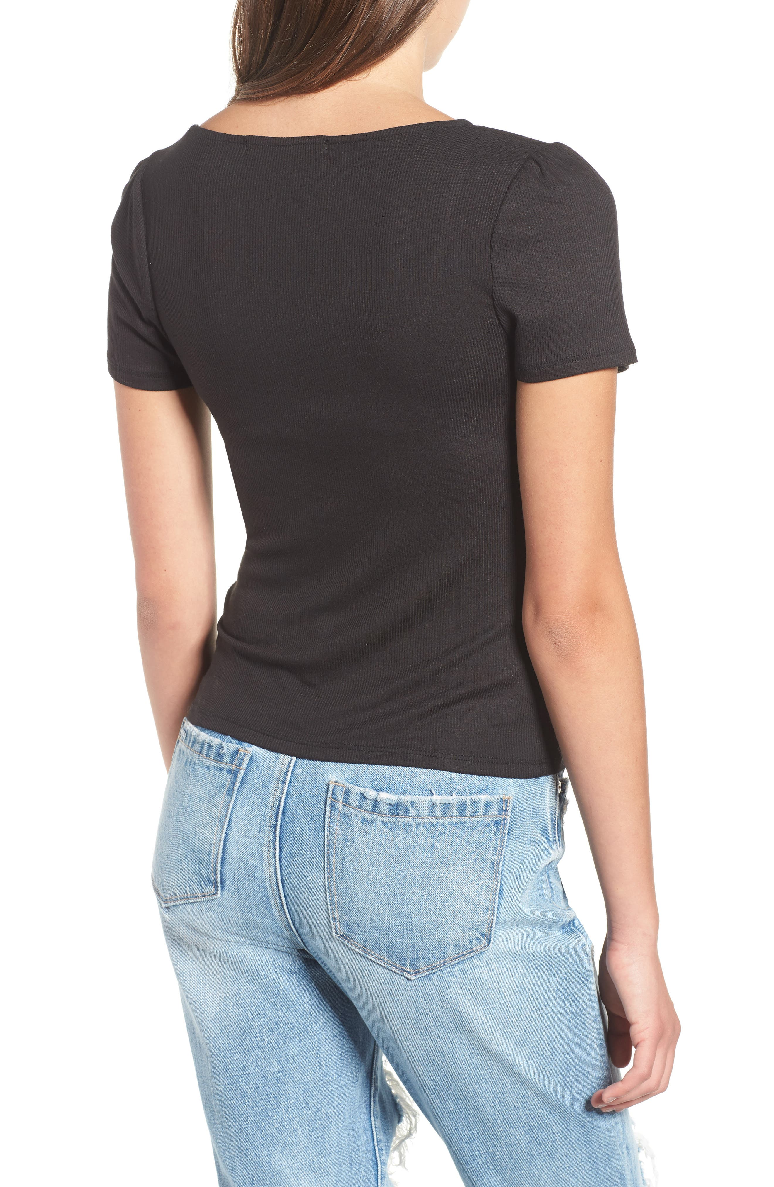 PROJECT SOCIAL T,                             PST by Project Social T Femme Ribbed Tee,                             Alternate thumbnail 2, color,                             001