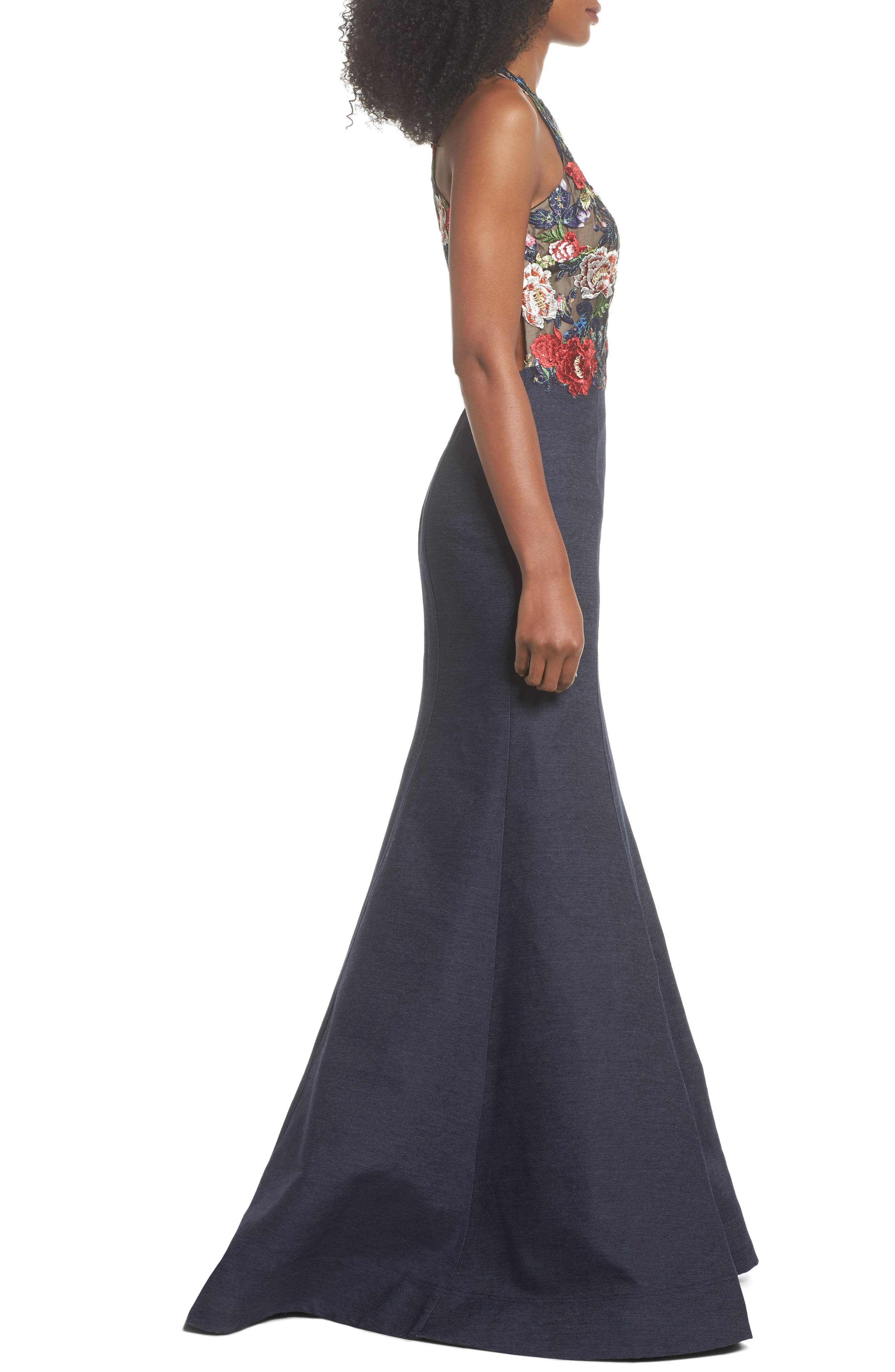 Embroidered Denim Mermaid Gown,                             Alternate thumbnail 3, color,