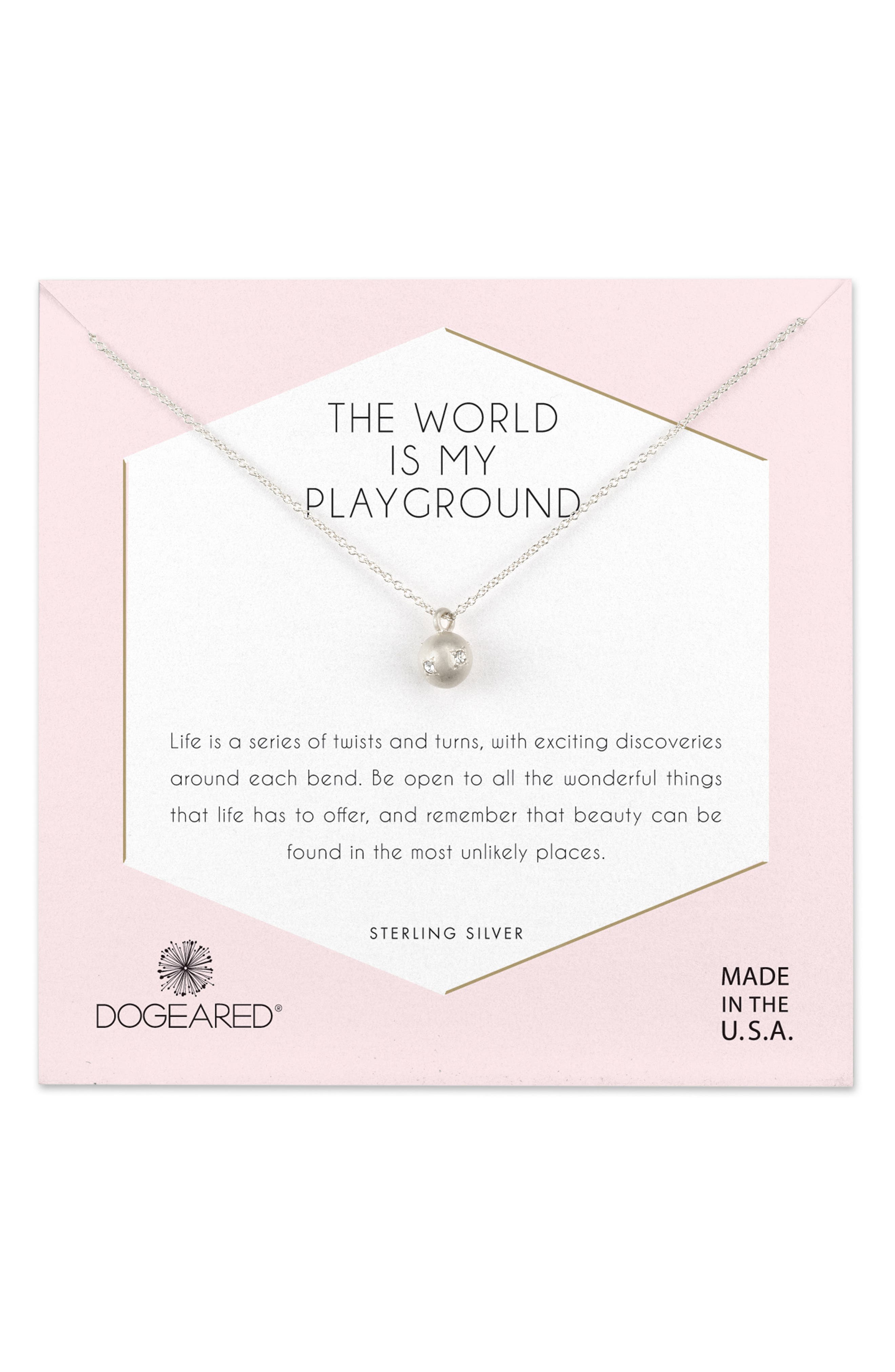 DOGEARED World Is My Playground Pendant Necklace in Neutrals