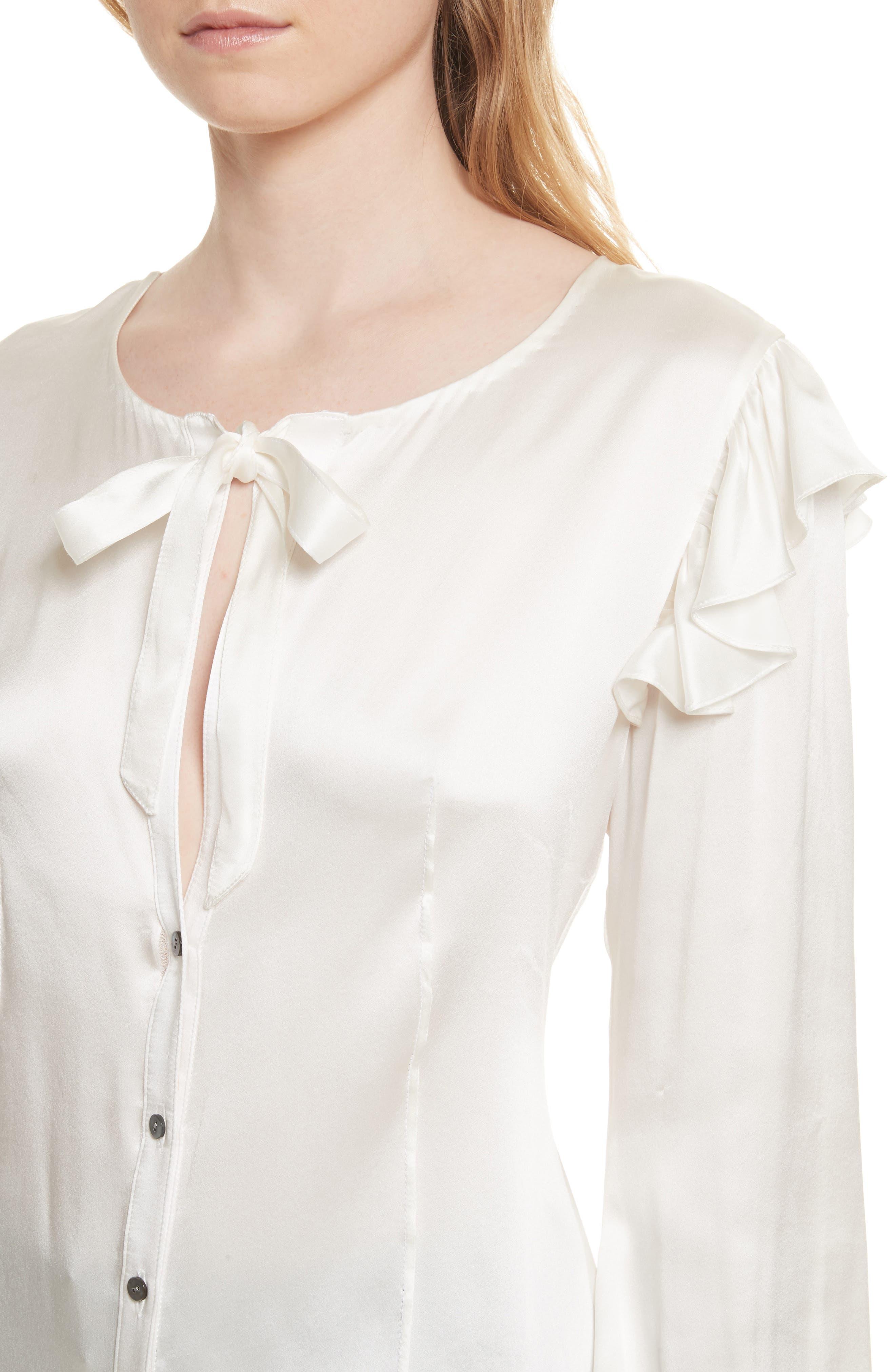 Cassanova Tie Neck Silk Blouse,                             Alternate thumbnail 4, color,                             112