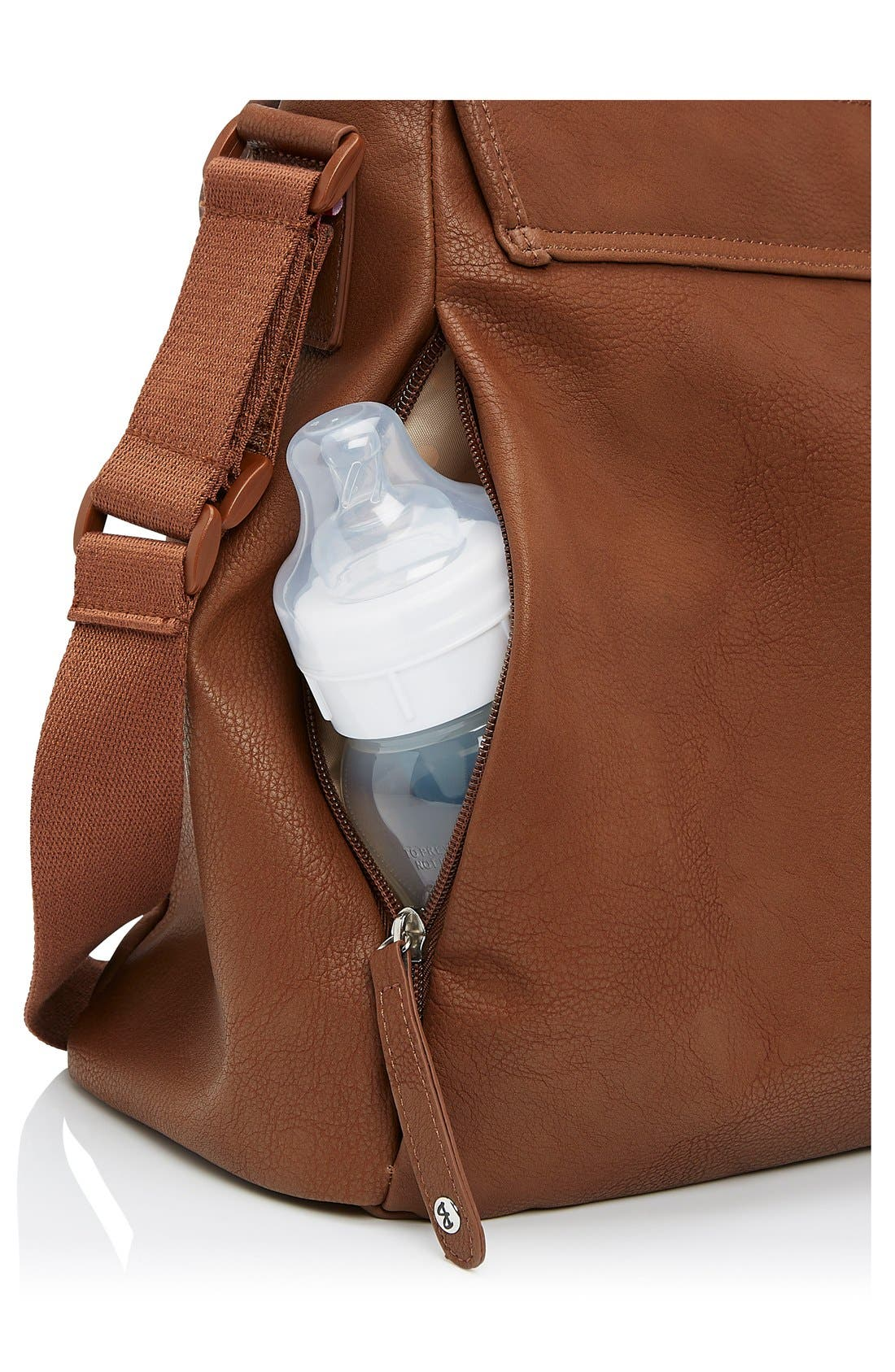 Ally Faux Leather Diaper Bag,                             Alternate thumbnail 4, color,                             TAN
