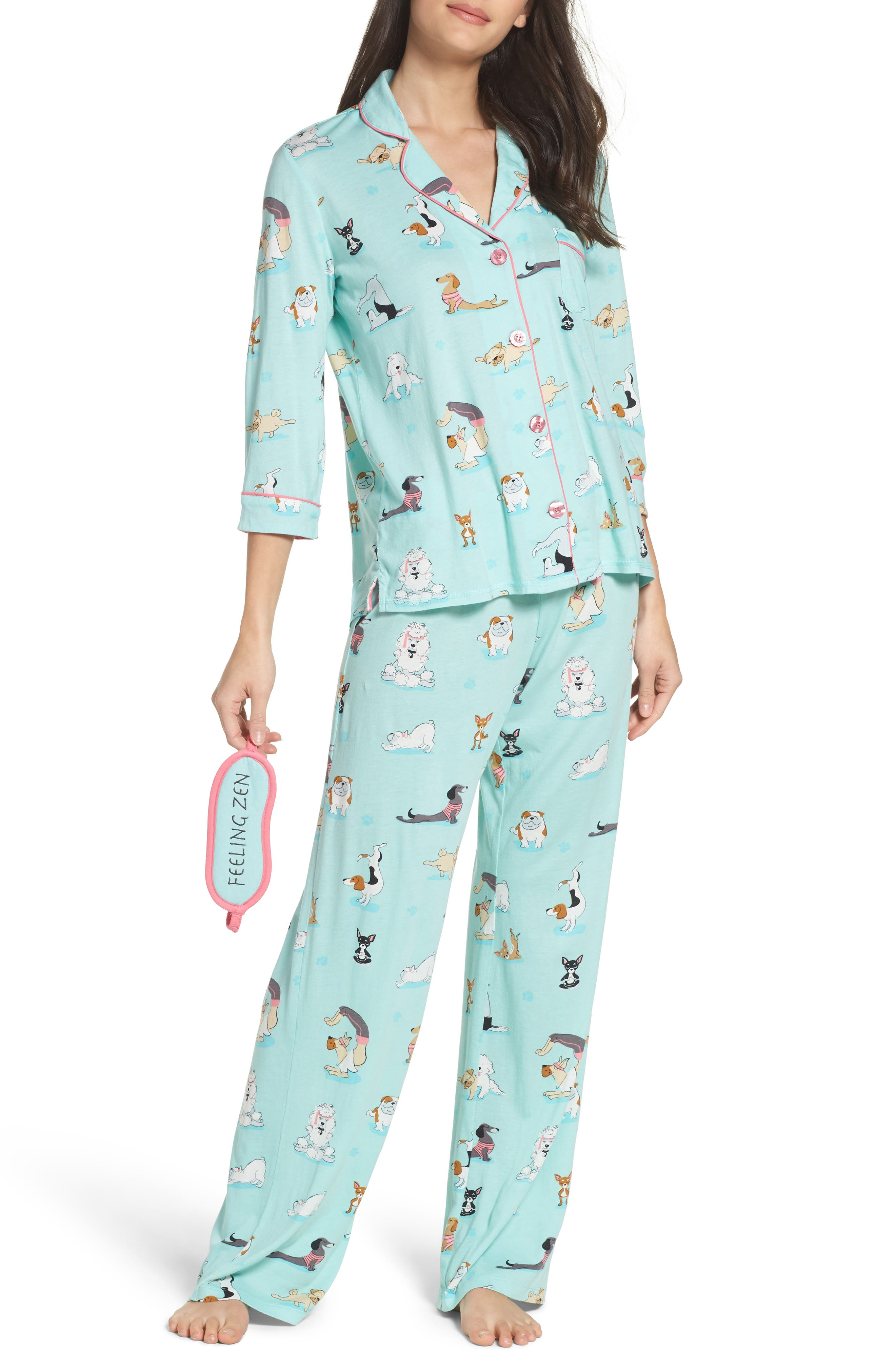 Playful Print Pajamas & Eye Mask,                             Main thumbnail 3, color,