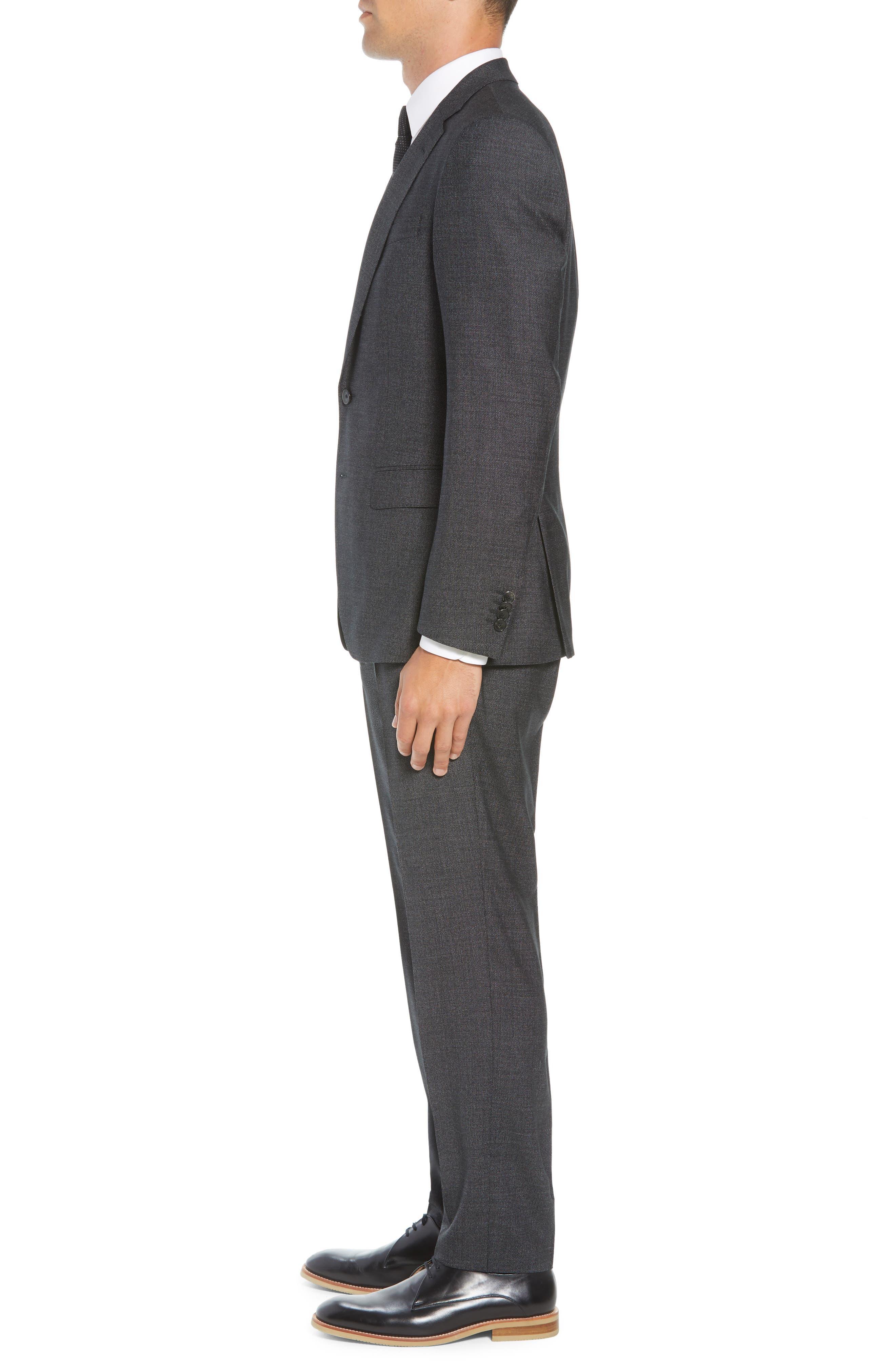 Huge/Genius Trim Fit Solid Wool Suit,                             Alternate thumbnail 3, color,                             BLACK