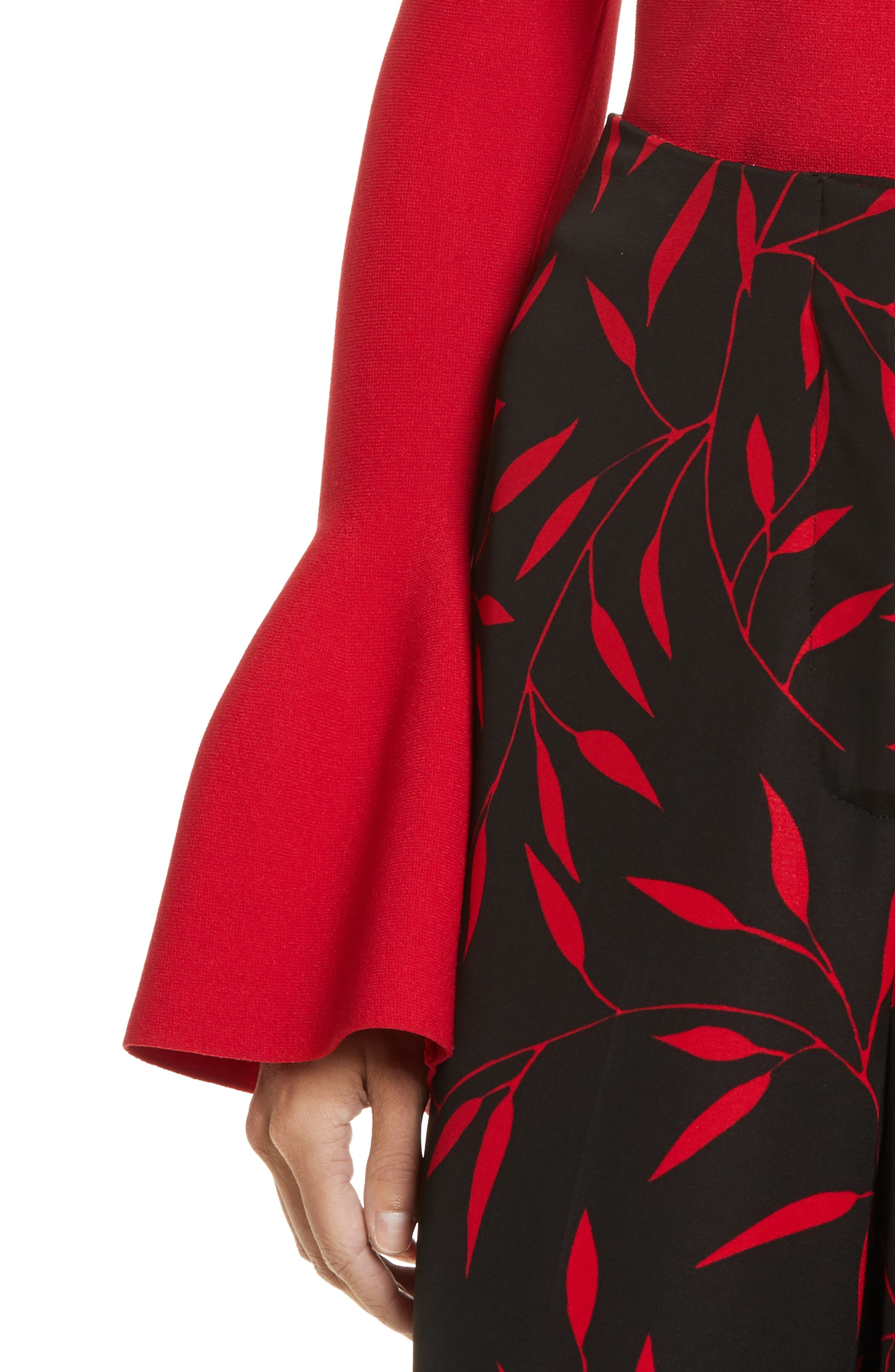 Diane von Furstenberg Flutter Sleeve Mock Neck Sweater,                             Alternate thumbnail 8, color,