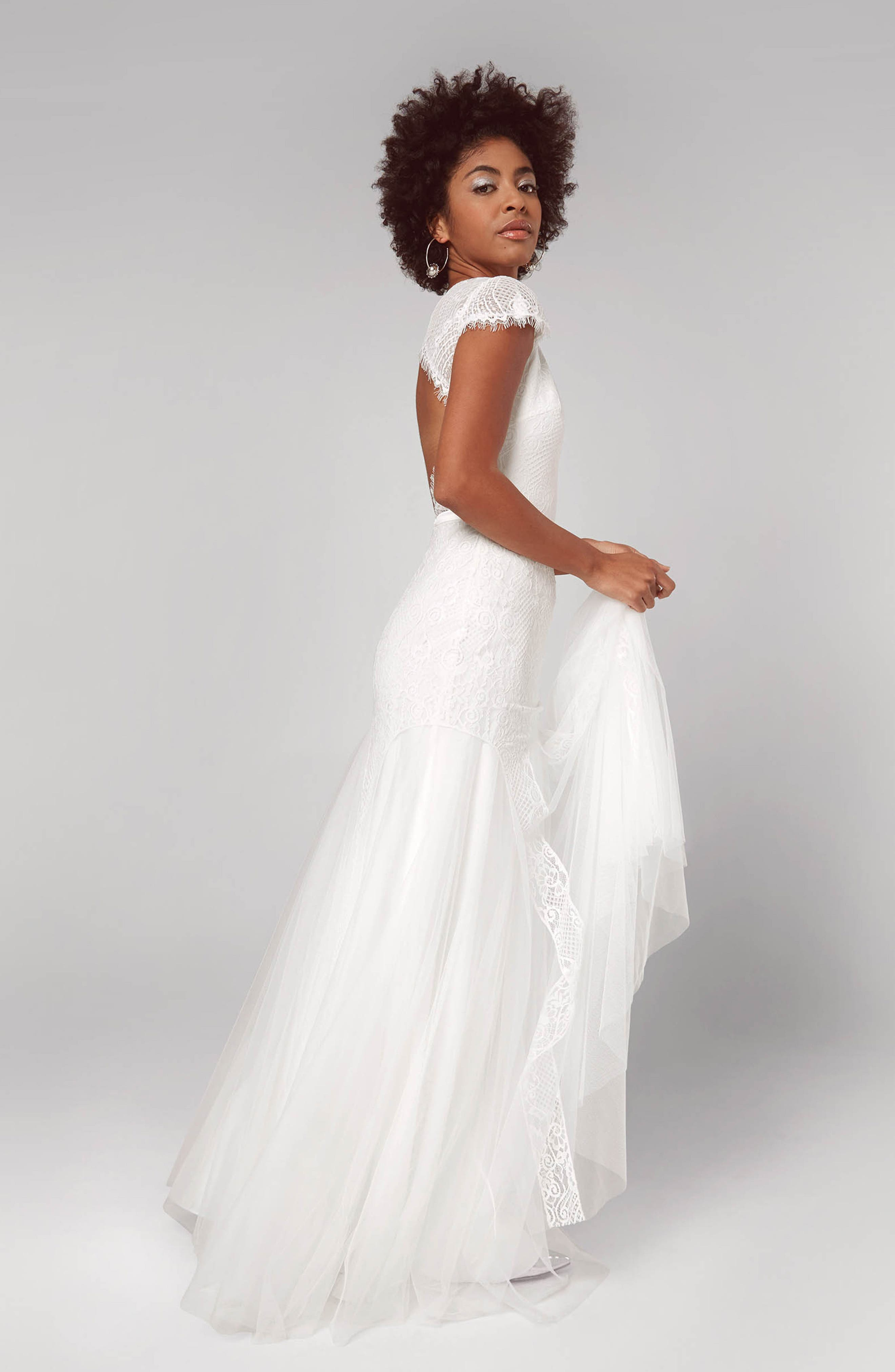 FAME AND PARTNERS,                             Denevue Lace & Tulle A-Line Gown,                             Alternate thumbnail 3, color,                             IVORY