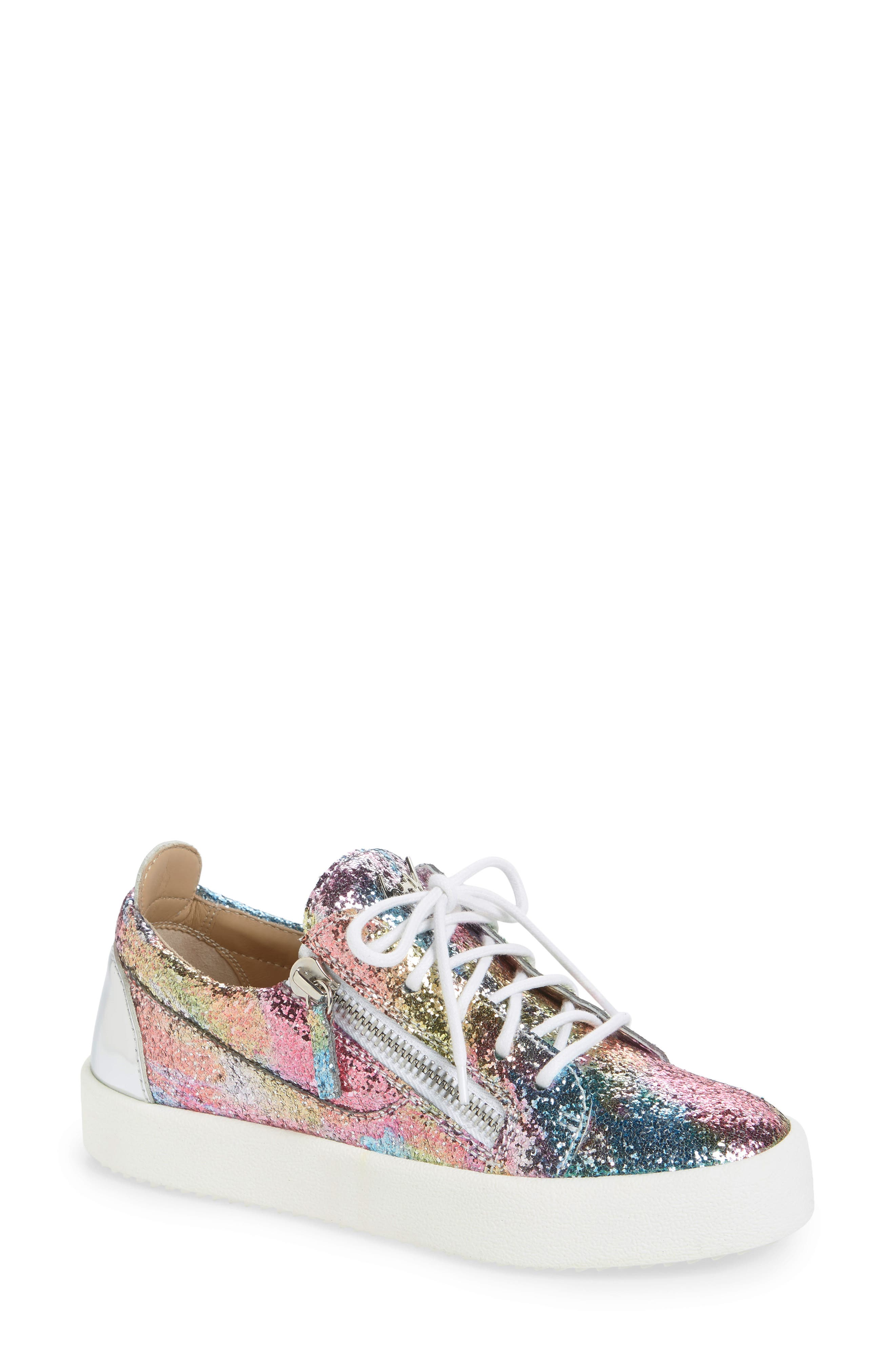 Women'S Glitter Low-Top Platform Sneakers in Multi Glitter