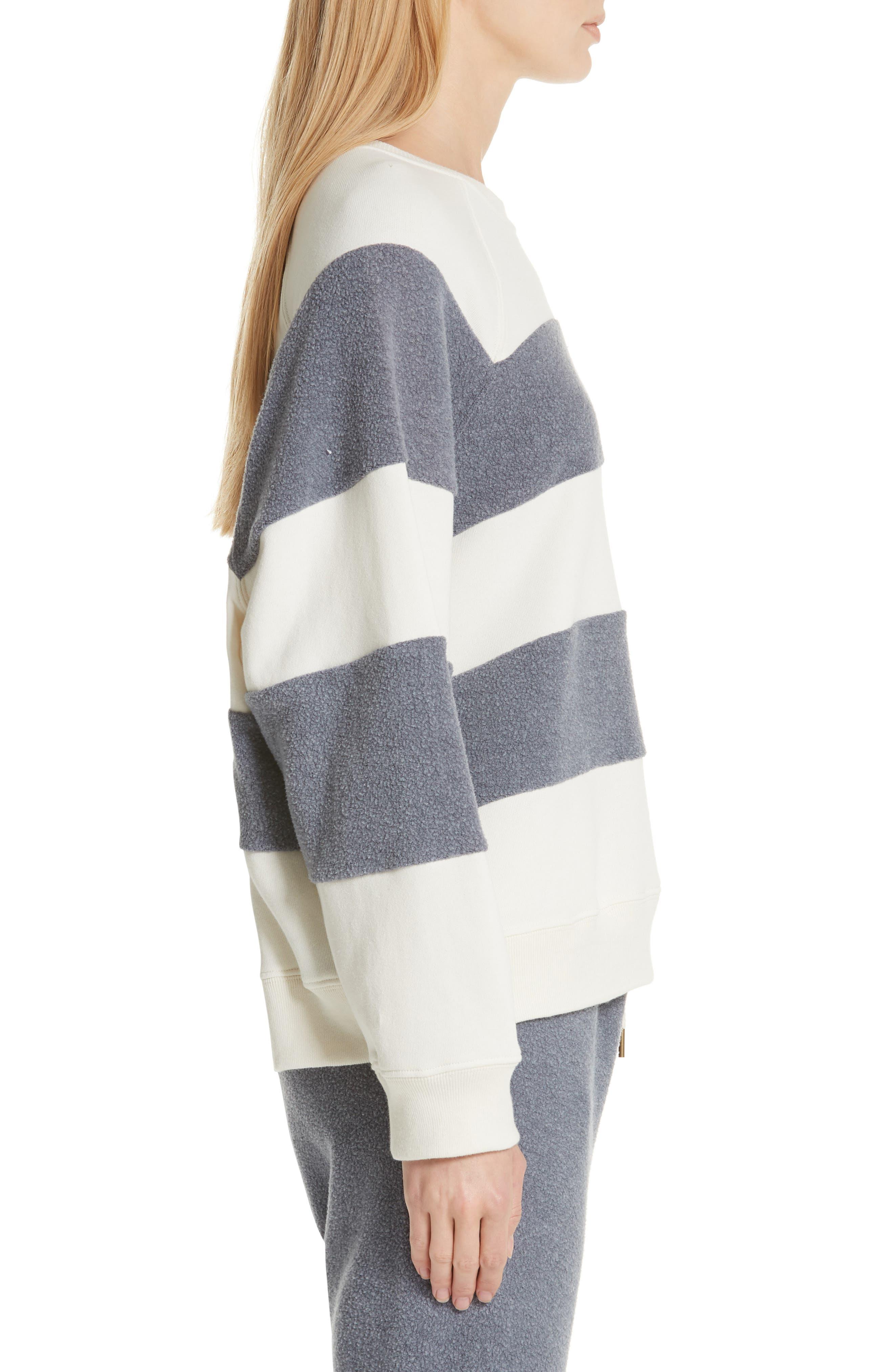 Fleece Stripe Slouch Sweatshirt,                             Alternate thumbnail 3, color,                             ENGINE BLUE AND CREAM
