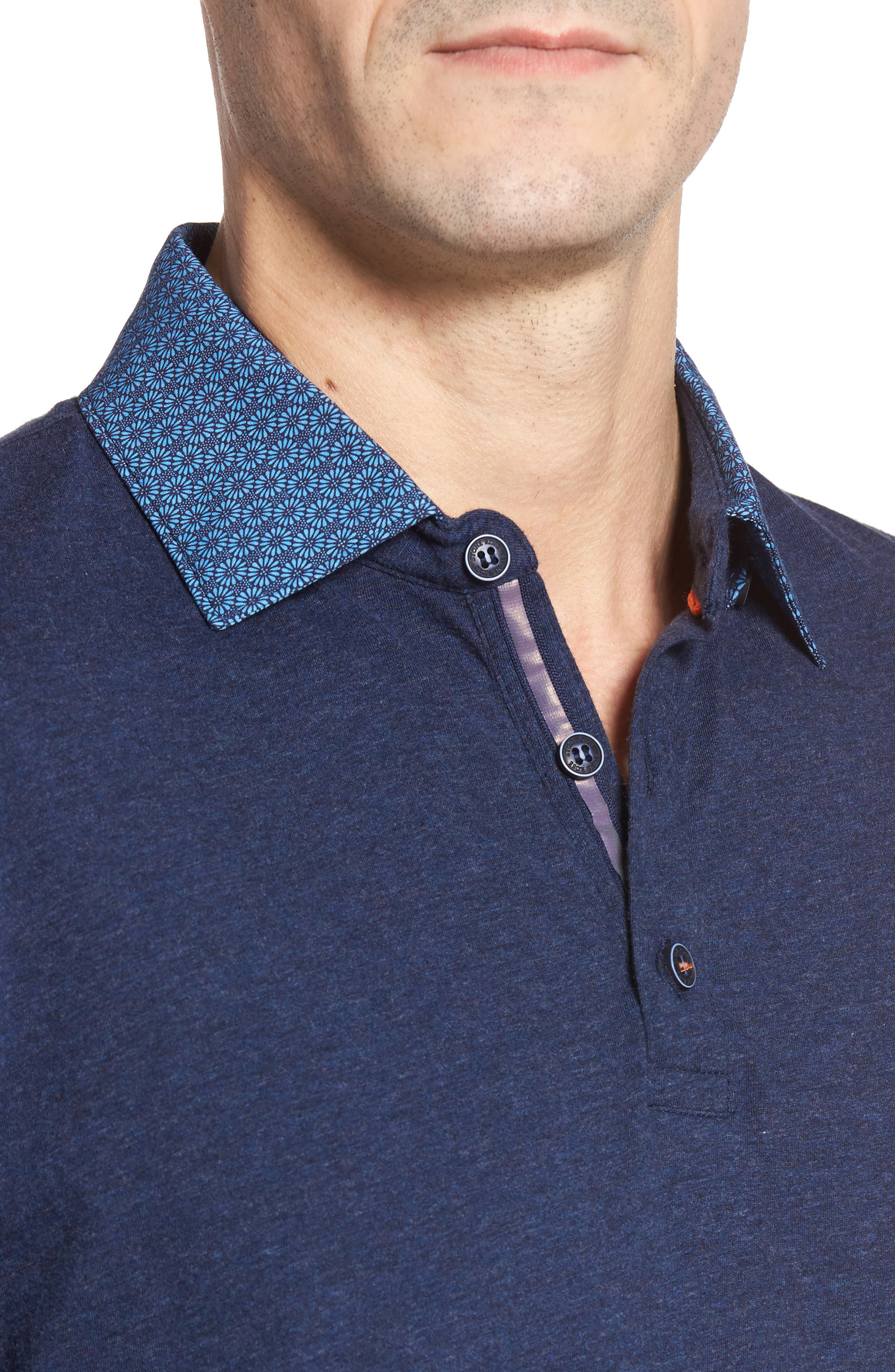 Floral Collar Jersey Polo,                             Alternate thumbnail 4, color,                             410