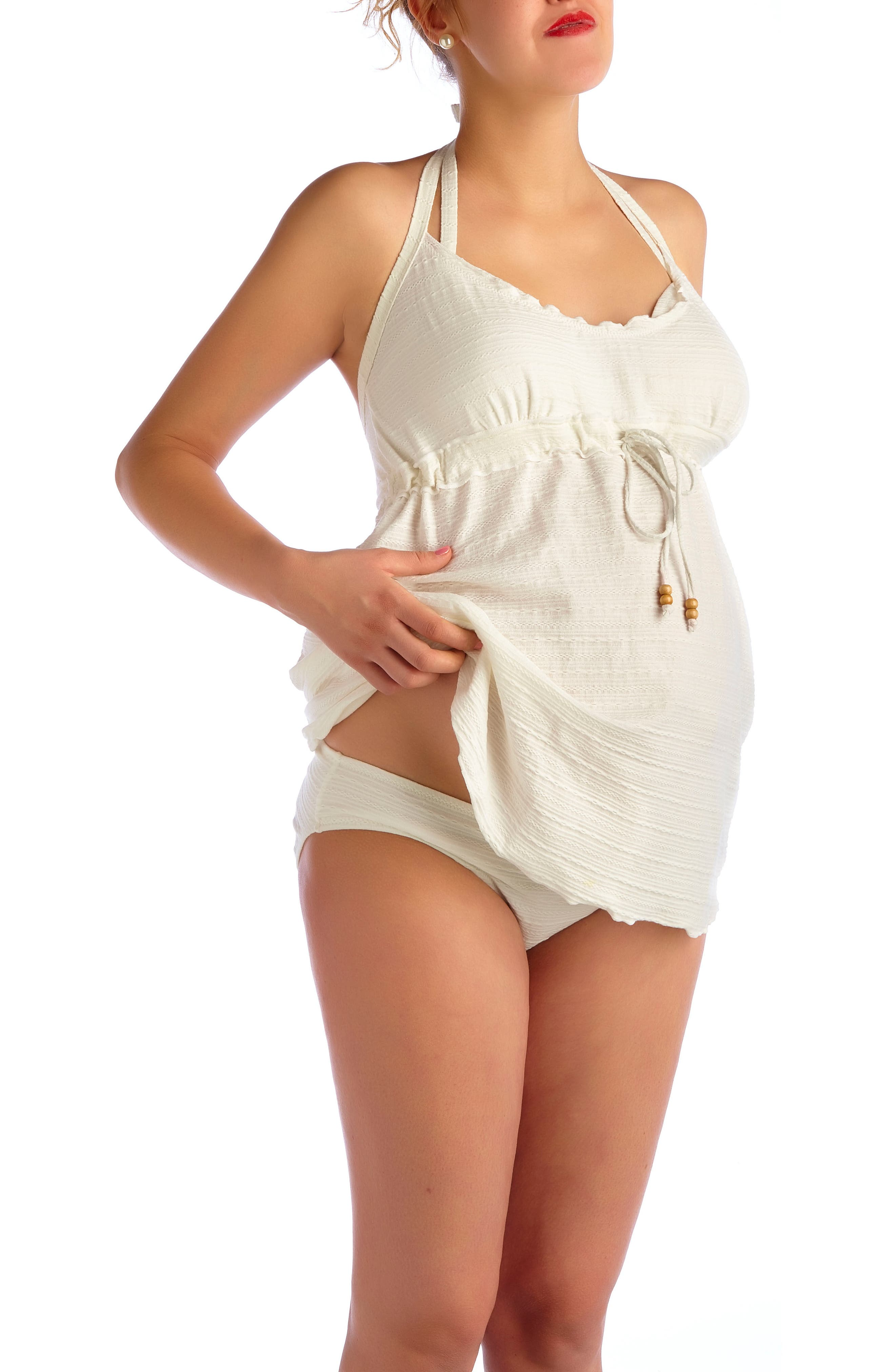 Ibiza Three-Piece Maternity Swimsuit,                             Alternate thumbnail 3, color,                             CREAM