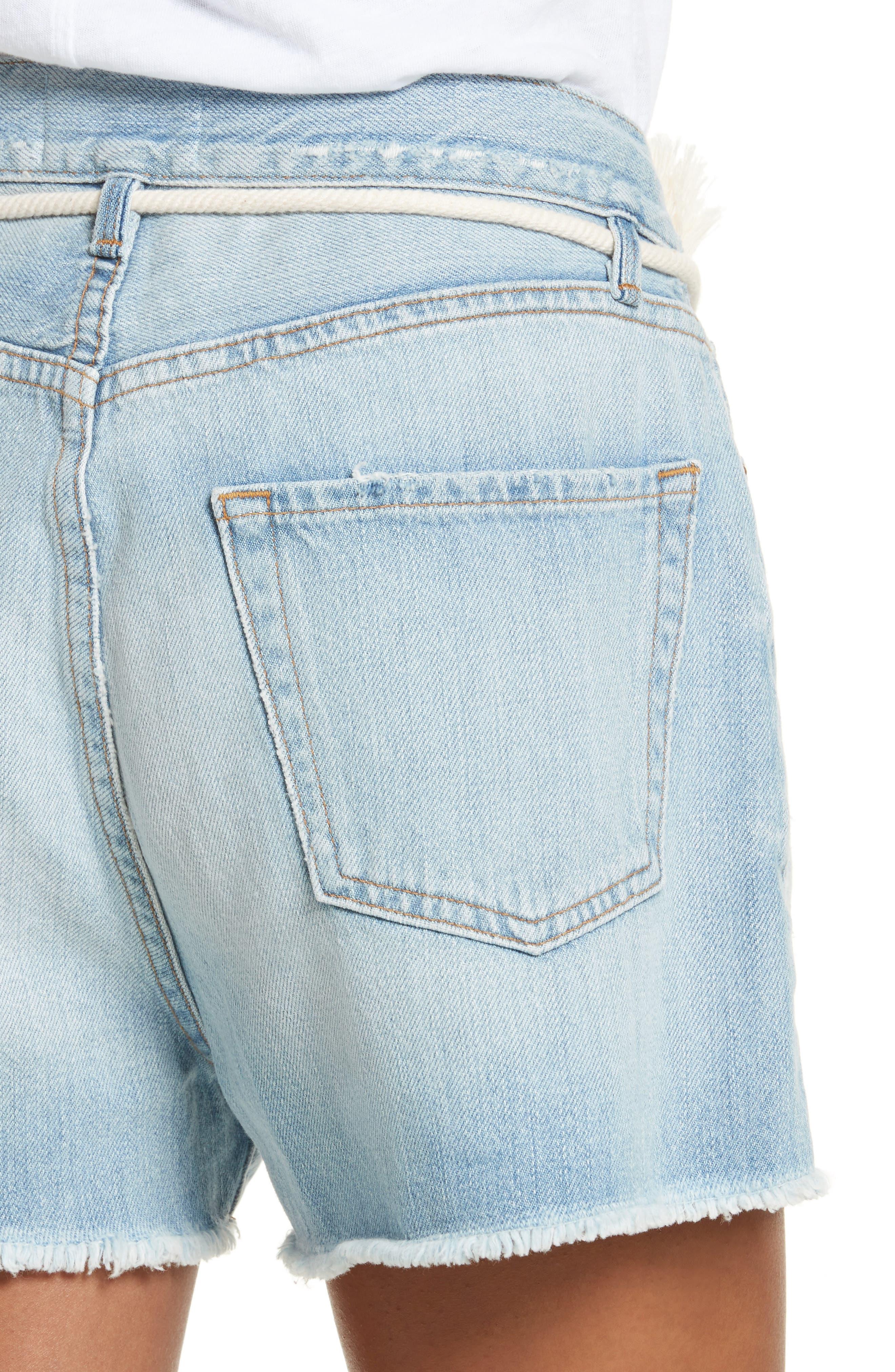 Cutoff Denim Shorts,                             Alternate thumbnail 4, color,                             402