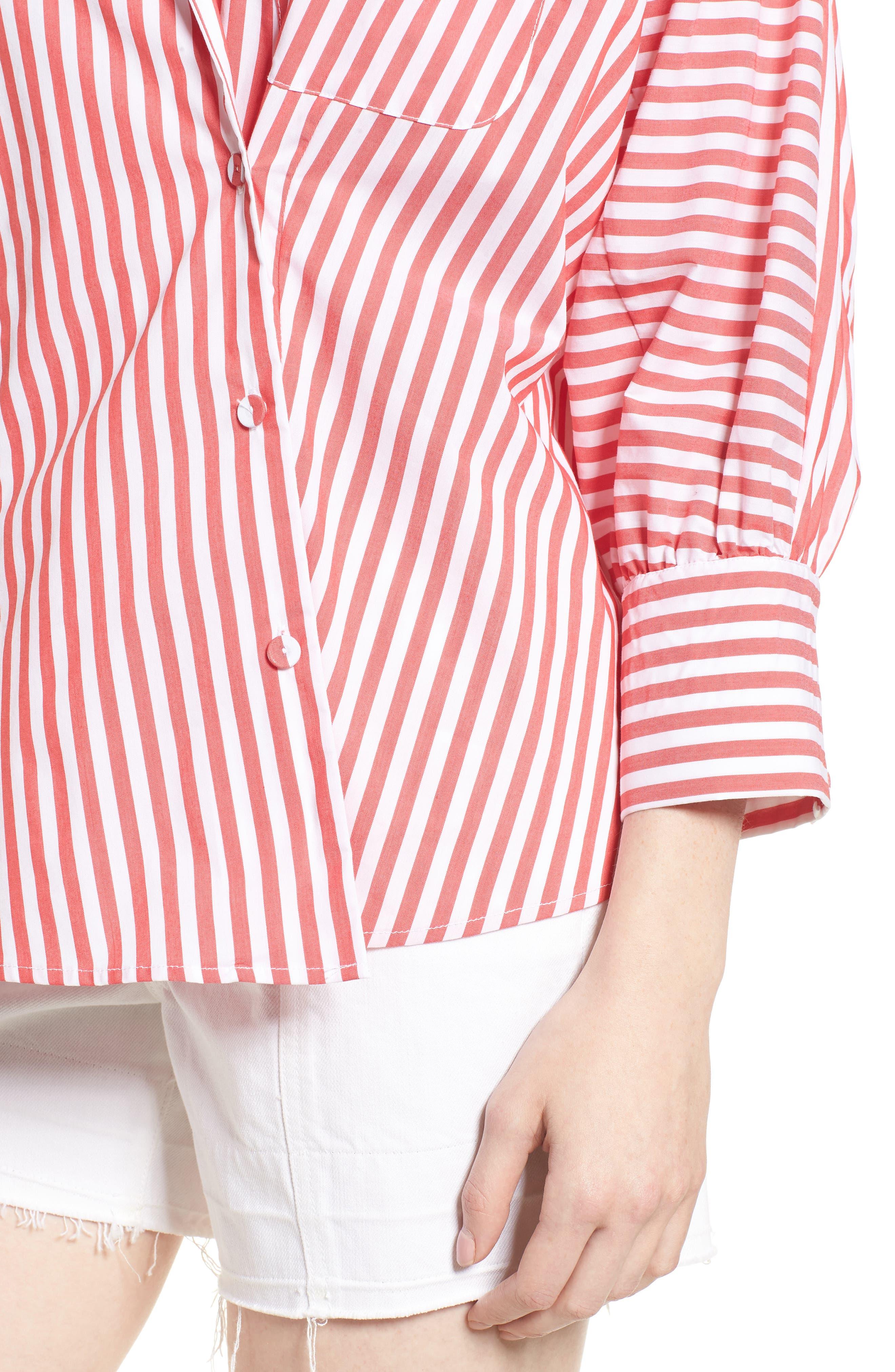 Asymmetrical Stripe Blouse,                             Alternate thumbnail 4, color,                             RED/ WHITE STRIPE