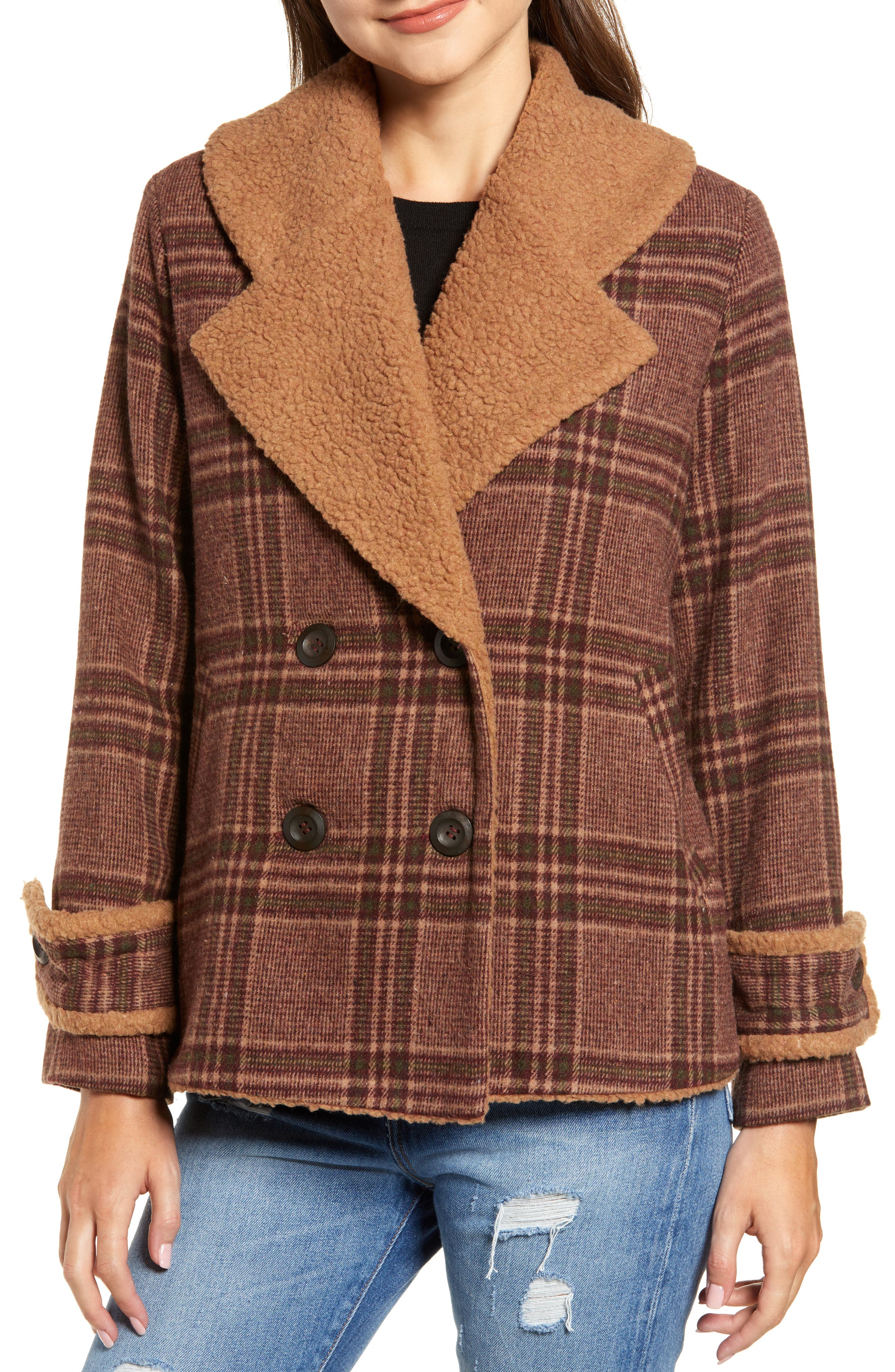 Faux Shearling Trim Plaid Jacket,                             Alternate thumbnail 4, color,                             BROWN PLAID
