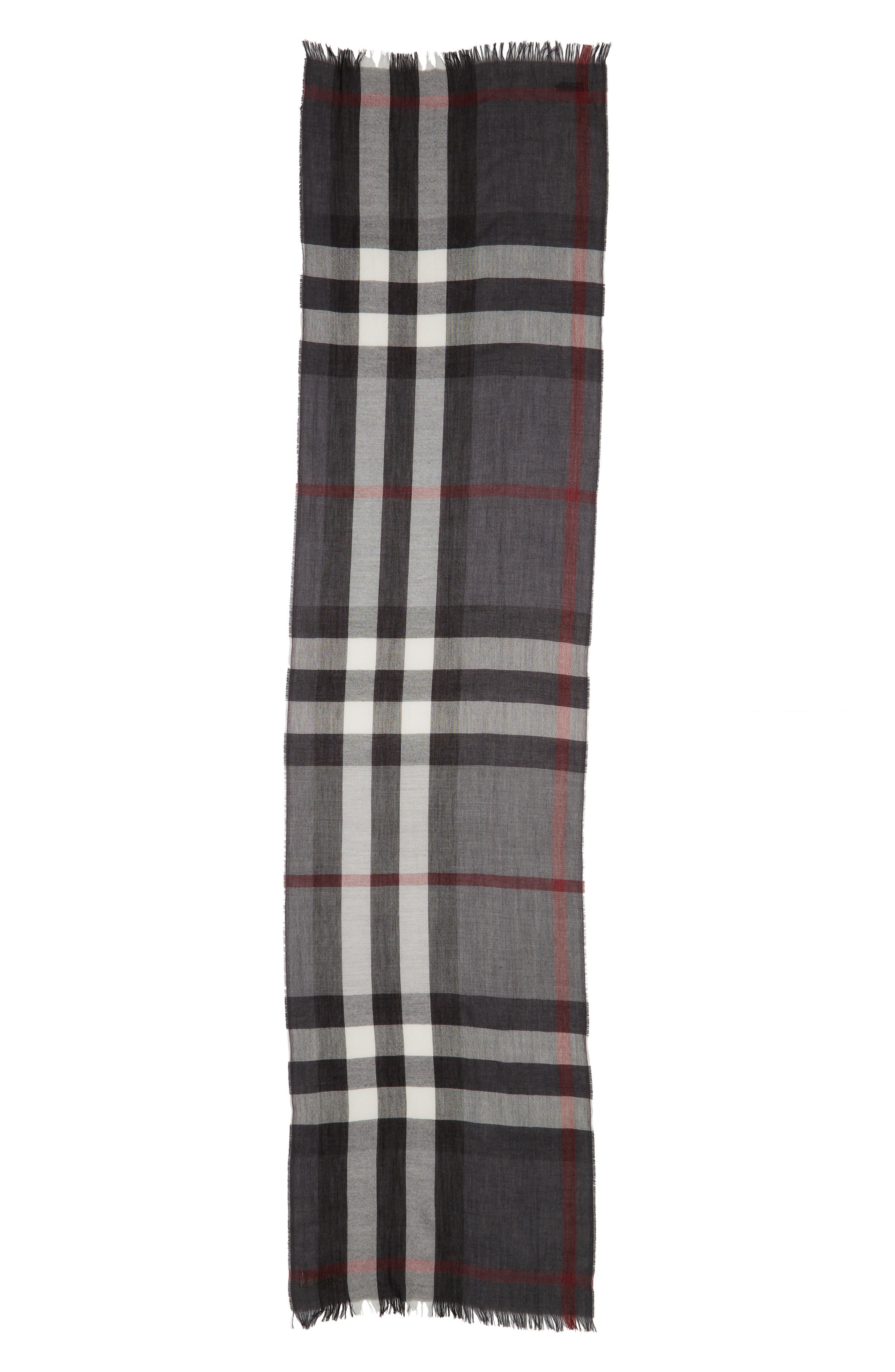 Tonal Lightweight Check Cashmere Wool Scarf,                         Main,                         color, 001