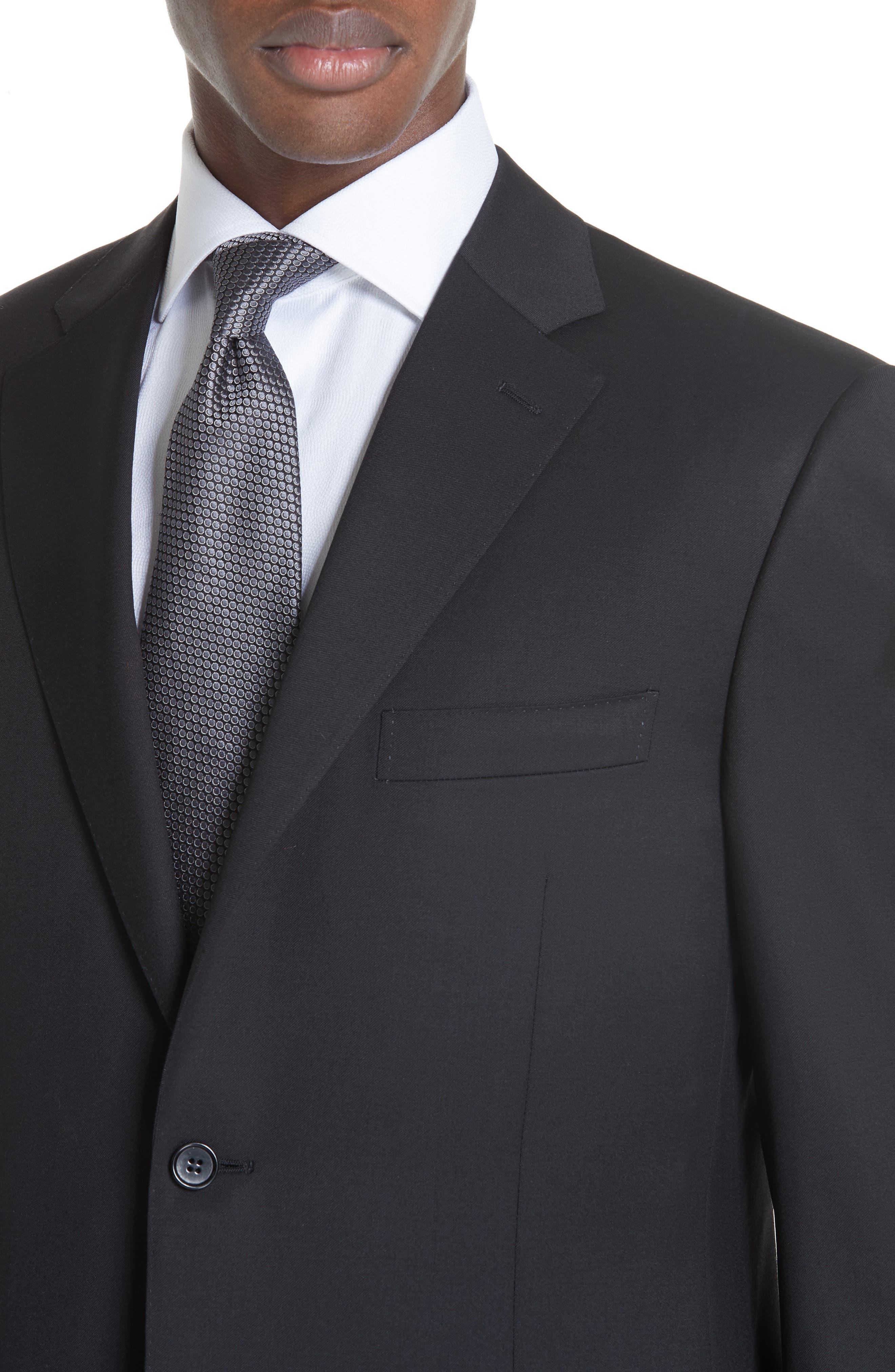 Classic Fit Solid Wool Suit,                             Alternate thumbnail 4, color,                             BLACK