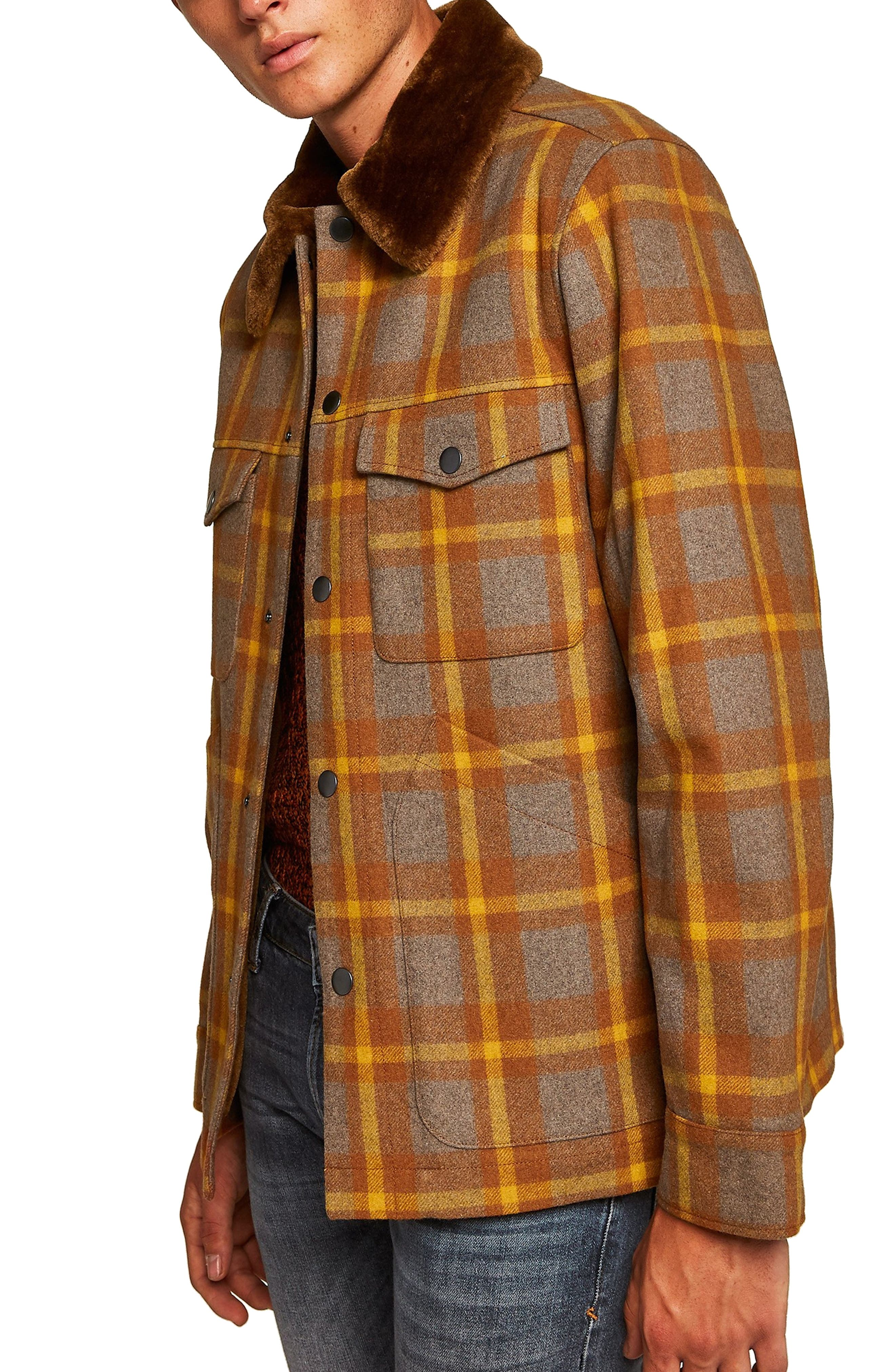 Borg Lined Classic Wool Jacket,                             Main thumbnail 1, color,                             BROWN MULTI