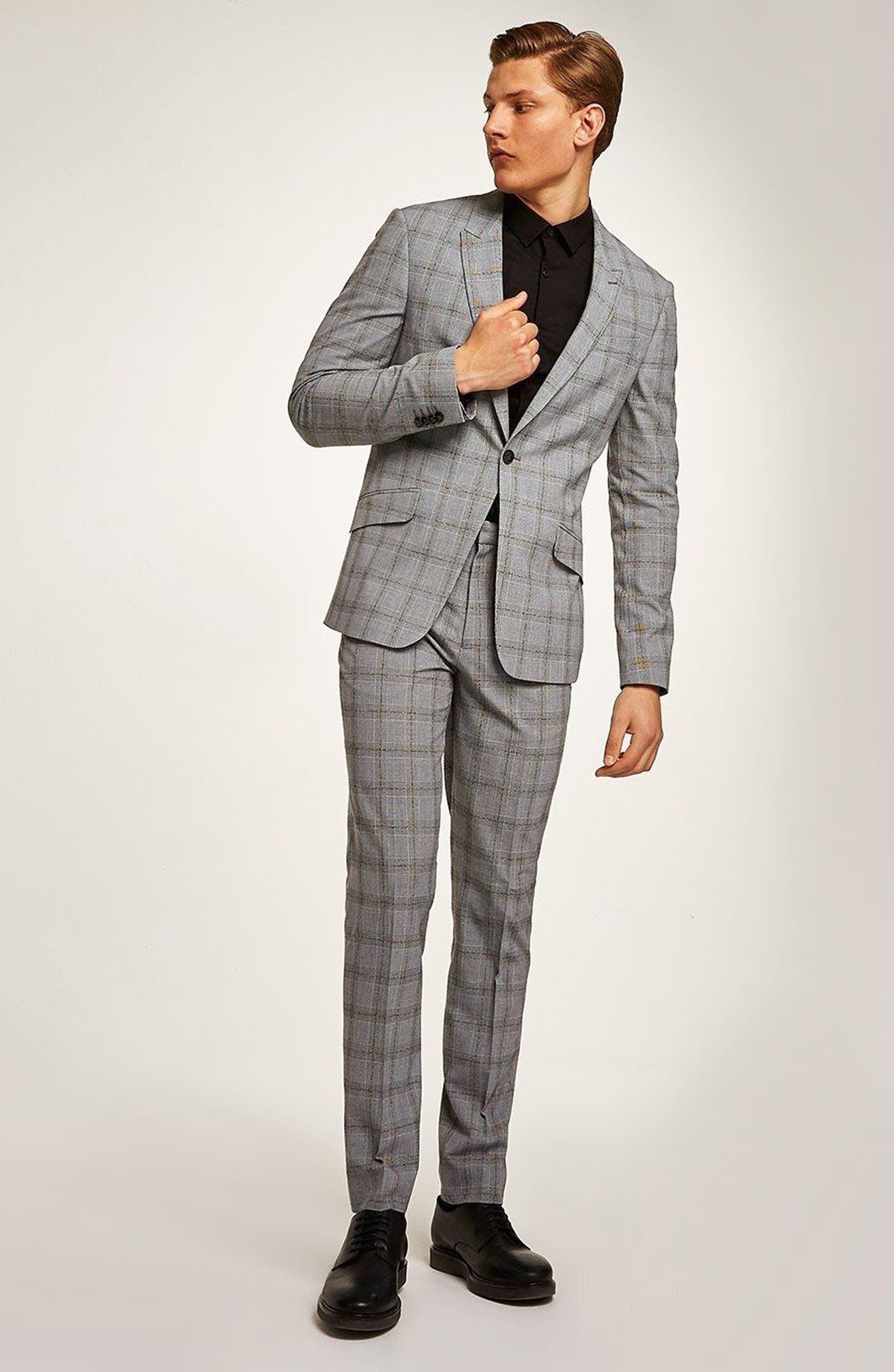 Check Suit Jacket,                             Alternate thumbnail 5, color,                             Grey/ Black