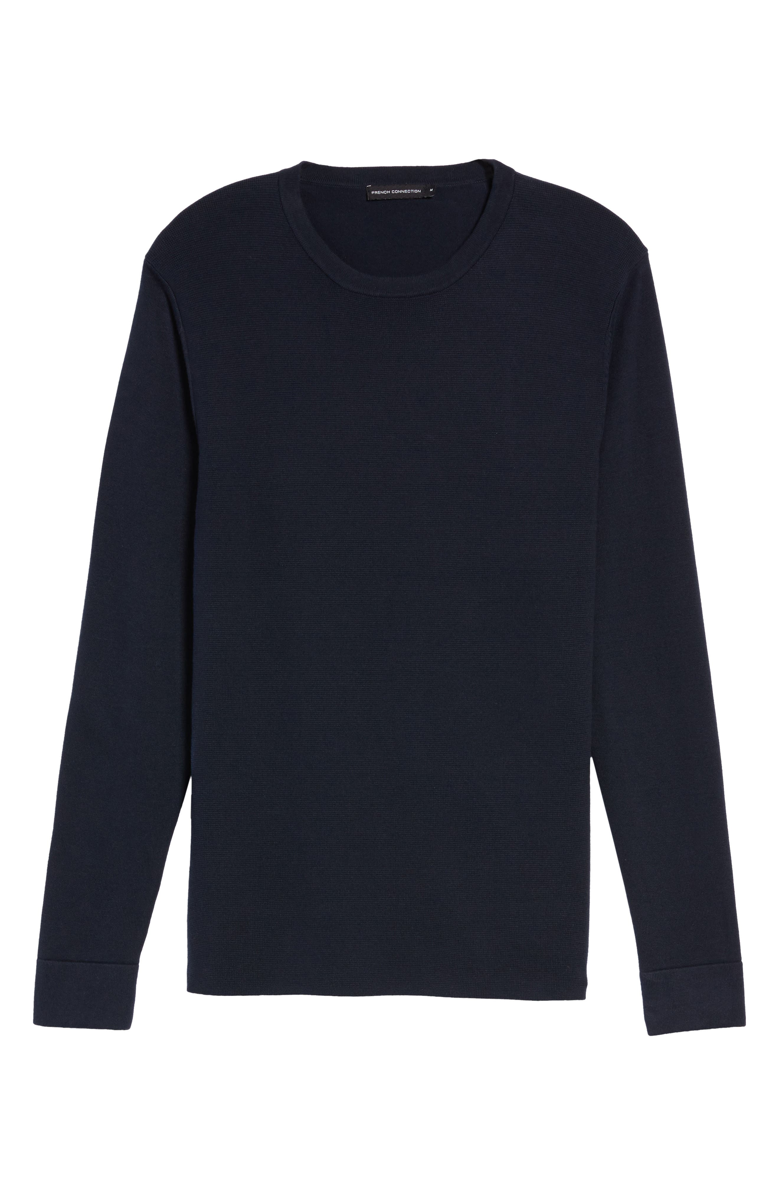 FRENCH CONNECTION,                             Milano Front Regular Fit Cotton Sweater,                             Alternate thumbnail 6, color,                             MARINE BLUE