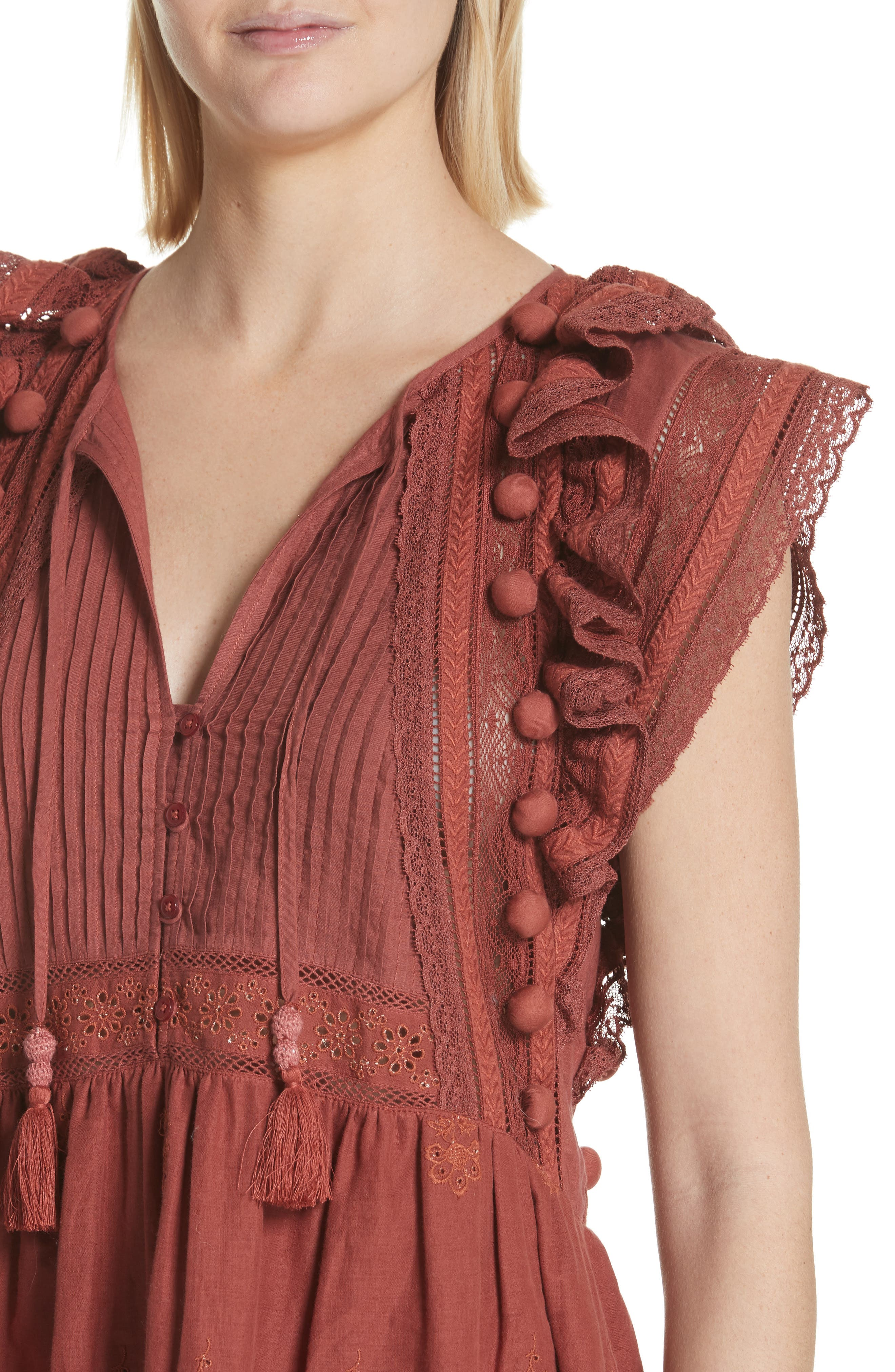 Sofie Lace & Pompom Dress,                             Alternate thumbnail 4, color,                             CLAY