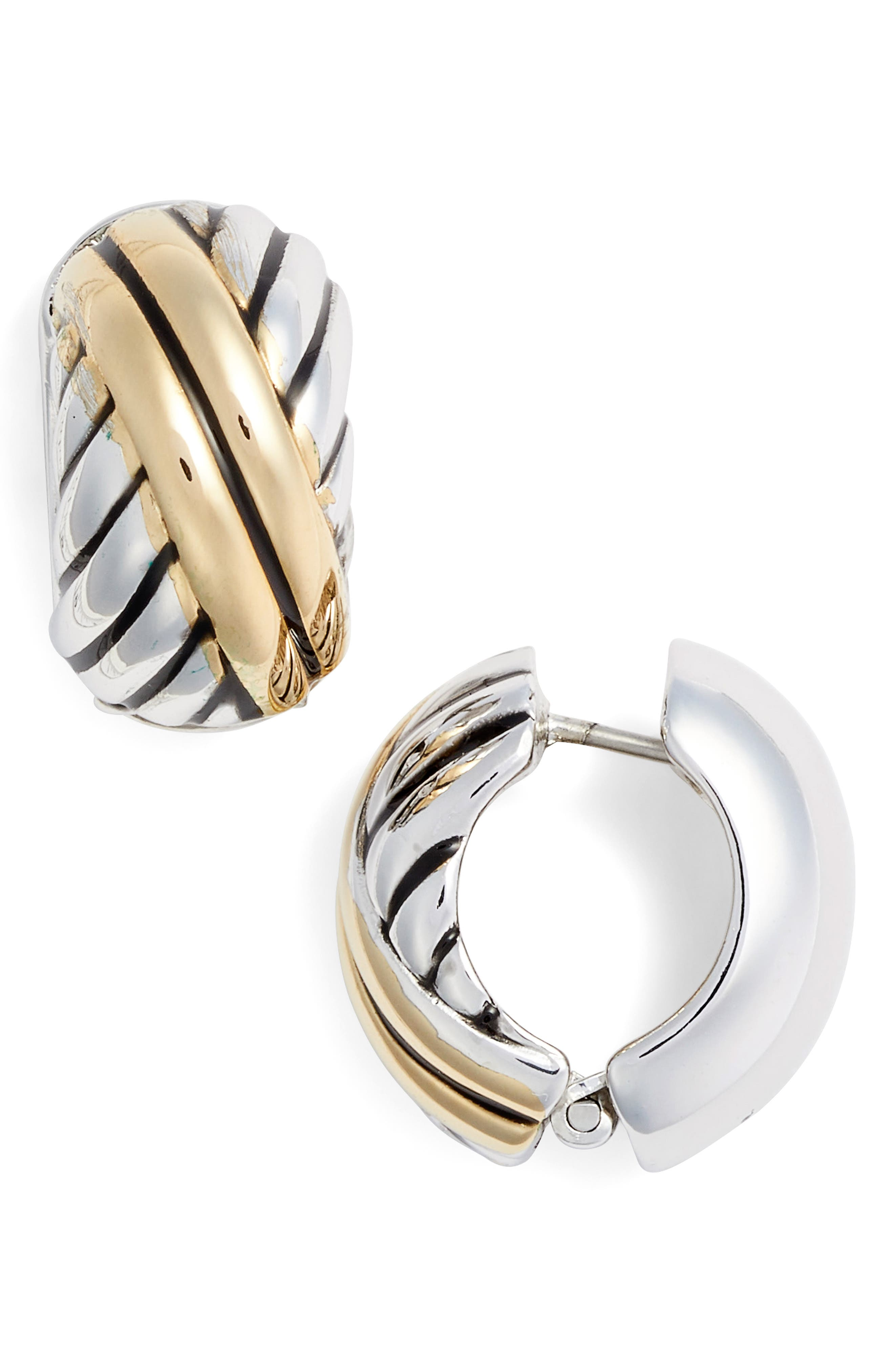 Two-Tone Reversible Hug<sup>®</sup> Earrings,                         Main,                         color, SILVER/ GOLD