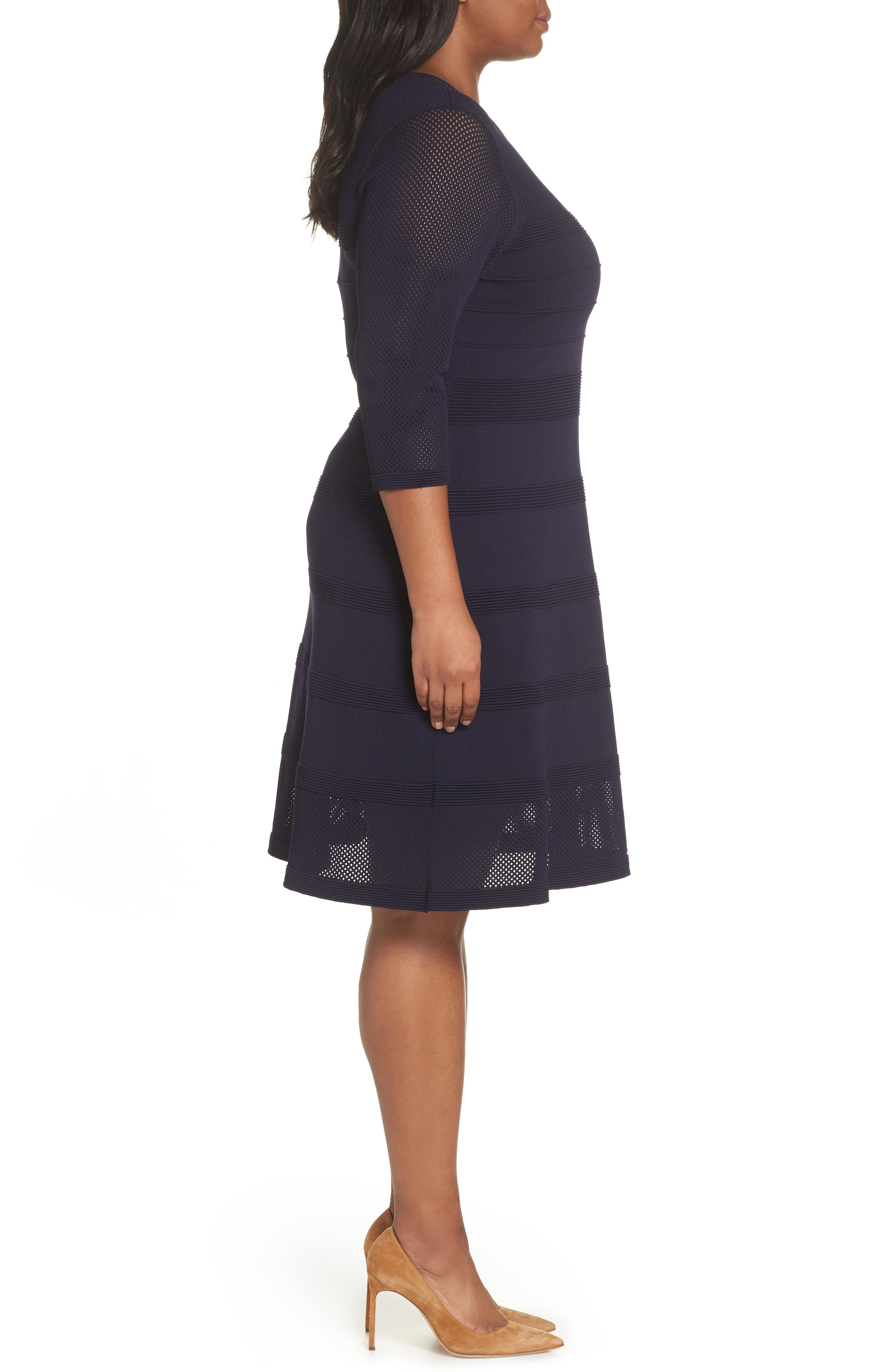 Mixed Stitch Pointelle Fit & Flare Dress,                             Alternate thumbnail 3, color,                             NAVY