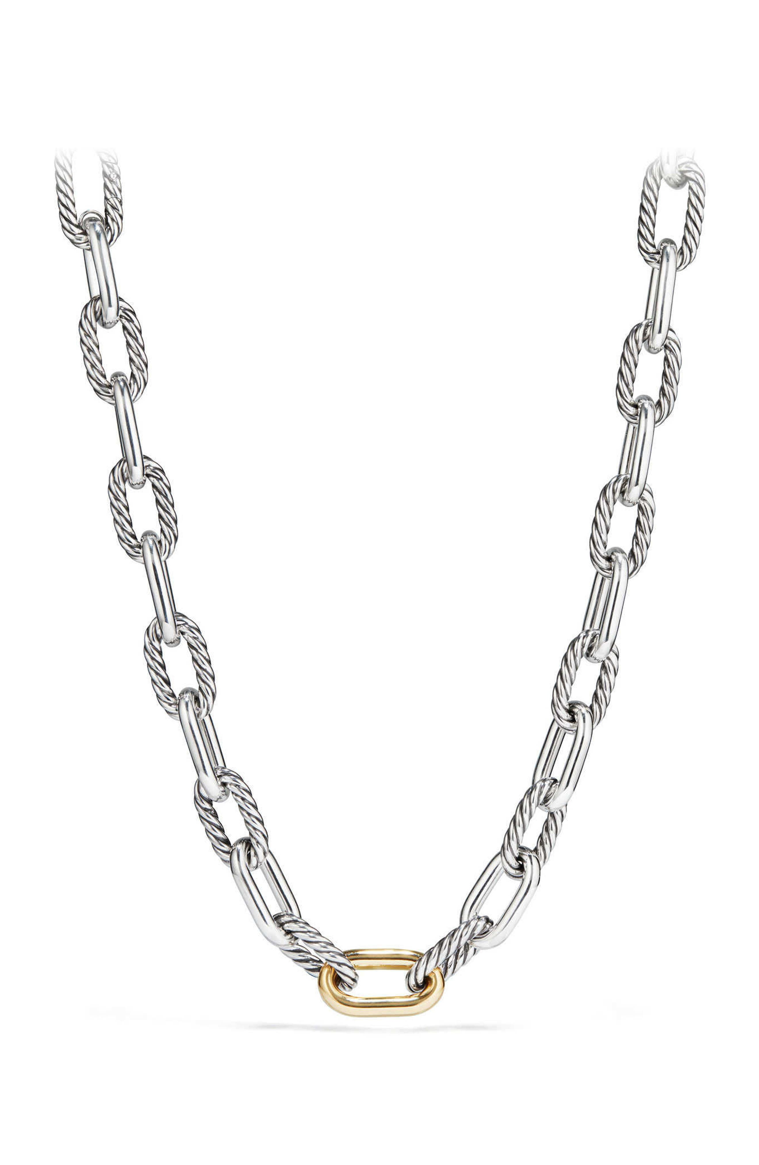 DY Madison Chain Large Necklace with 18K Gold,                         Main,                         color, SILVER/ GOLD