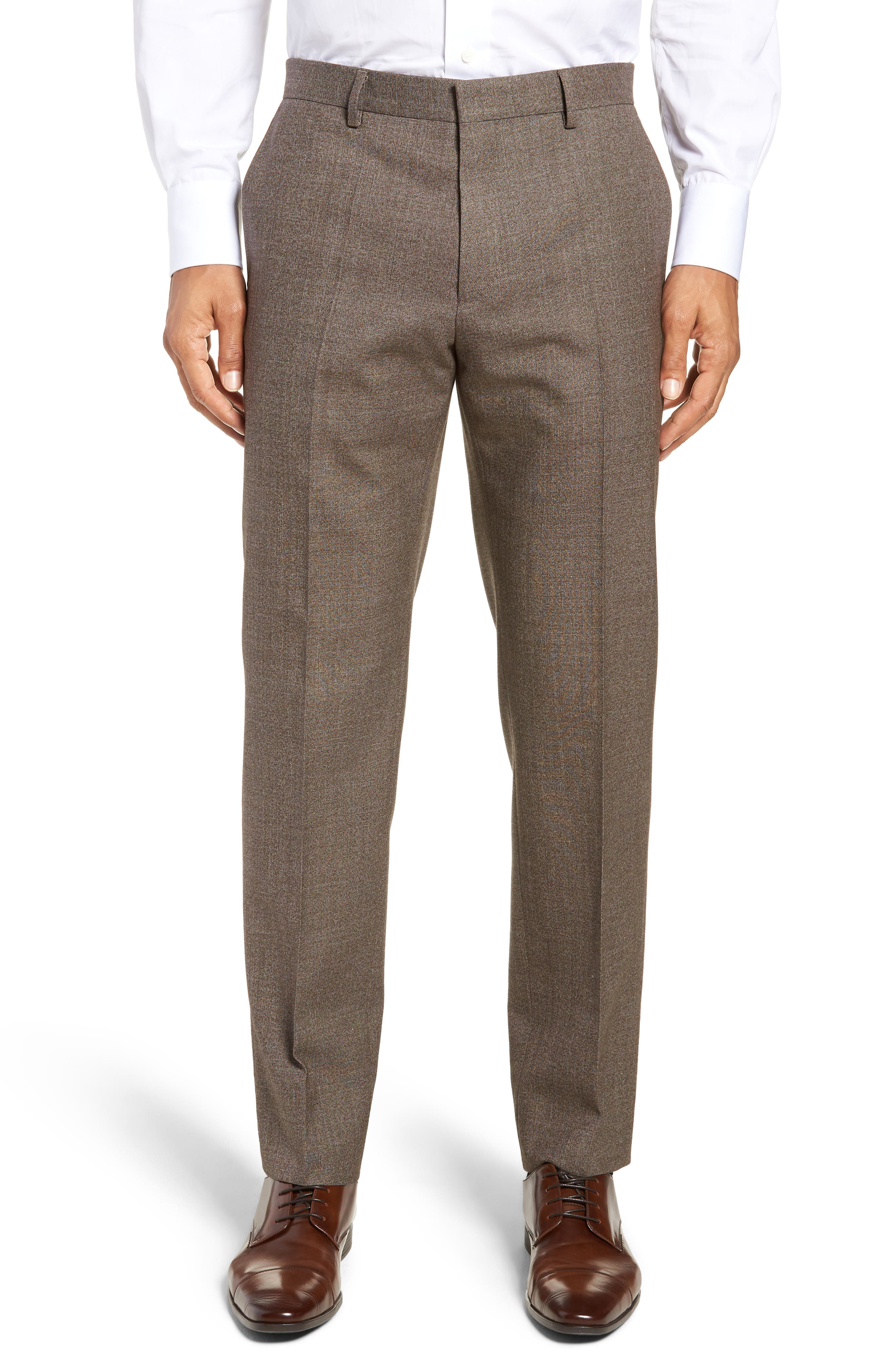 Giro Flat Front Solid Wool & Cotton Trousers,                             Main thumbnail 1, color,                             LIGHT/ PASTEL BROWN