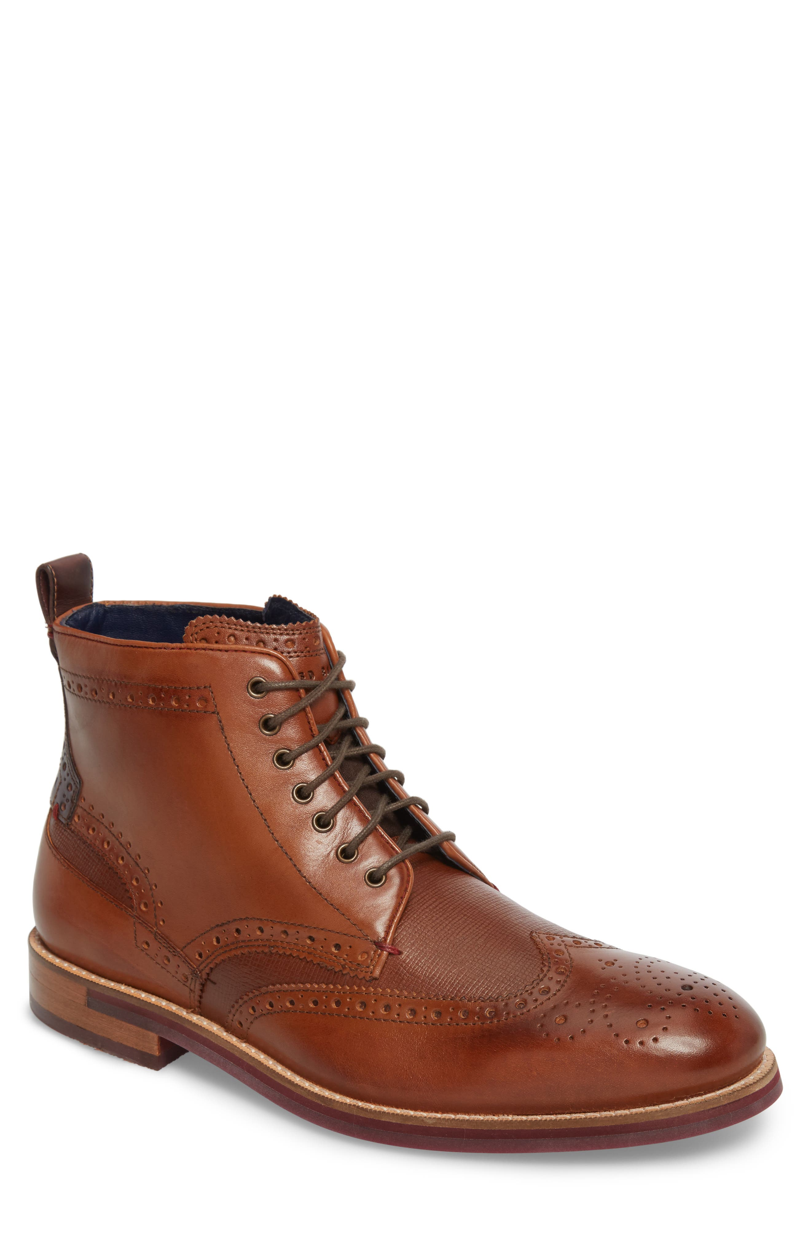 Hjenno Wingtip Boot,                         Main,                         color, TAN LEATHER