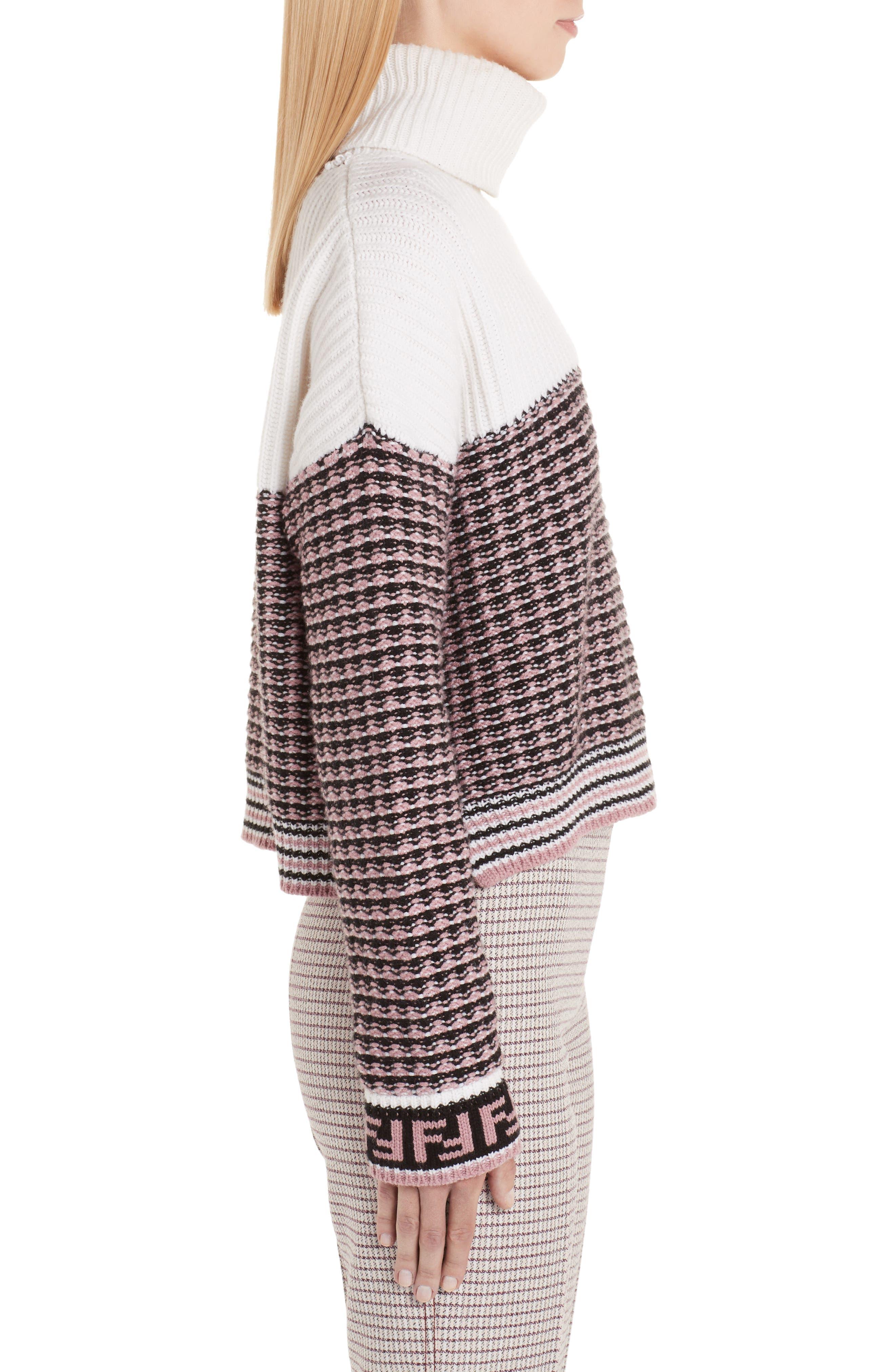 Microcheck Wool & Cashmere Sweater,                             Alternate thumbnail 3, color,                             ARUBA PINK