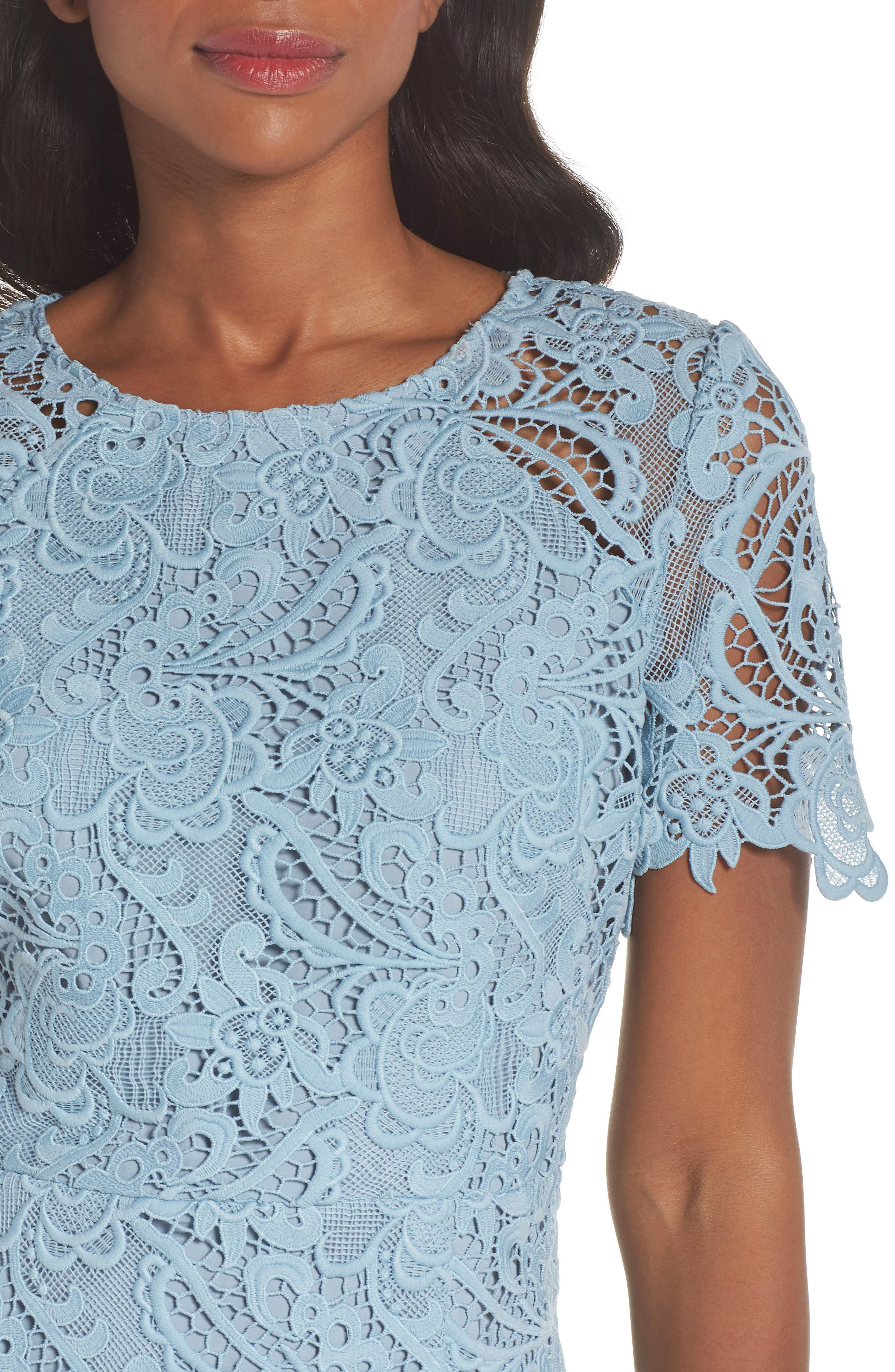 Lace Sheath Dress,                             Alternate thumbnail 4, color,                             BLUE