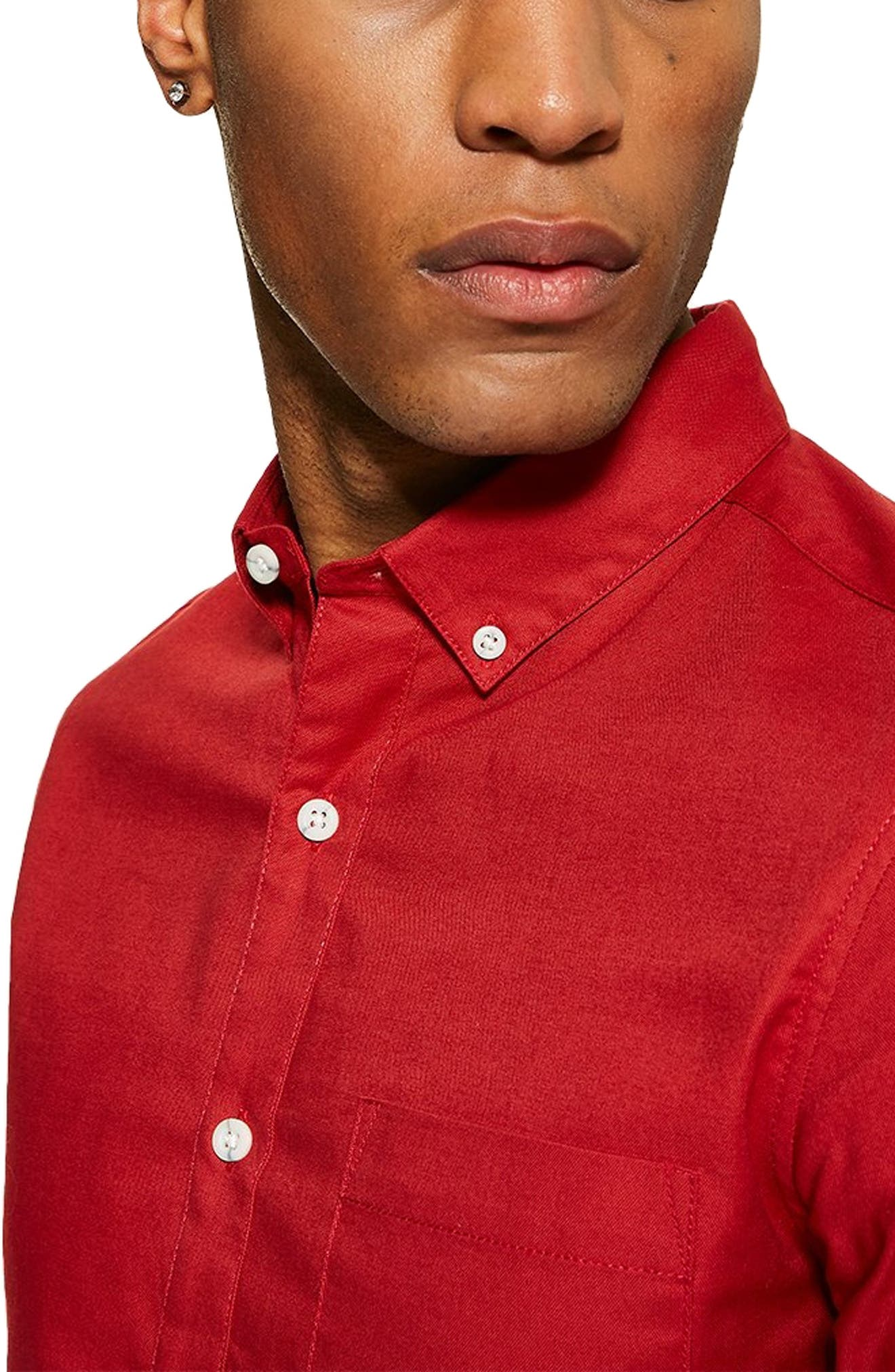 Stretch Solid Sport Shirt,                             Alternate thumbnail 2, color,                             RED