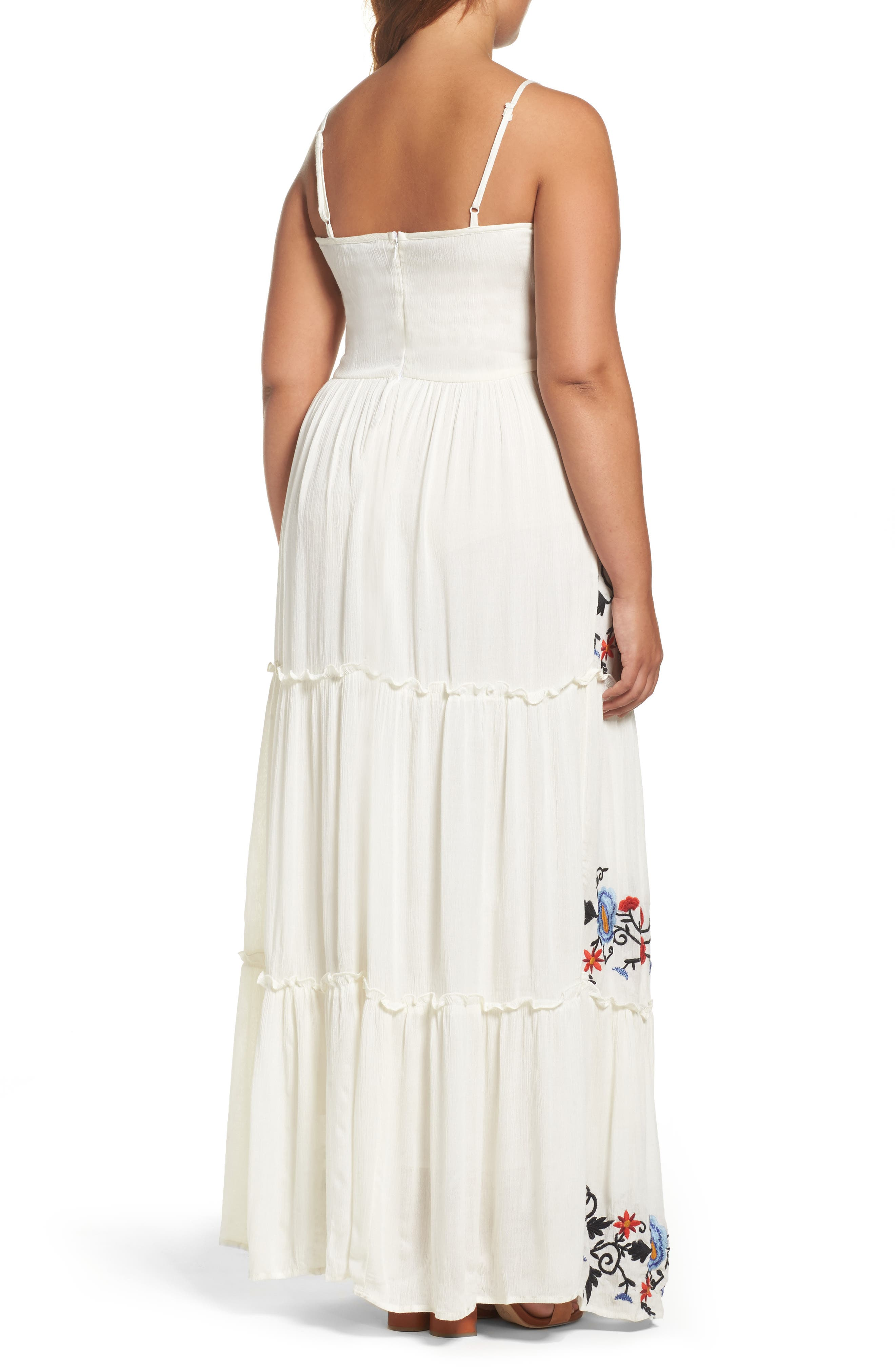 Embroidered Tiered Gauze Maxi Dress,                             Alternate thumbnail 2, color,                             100
