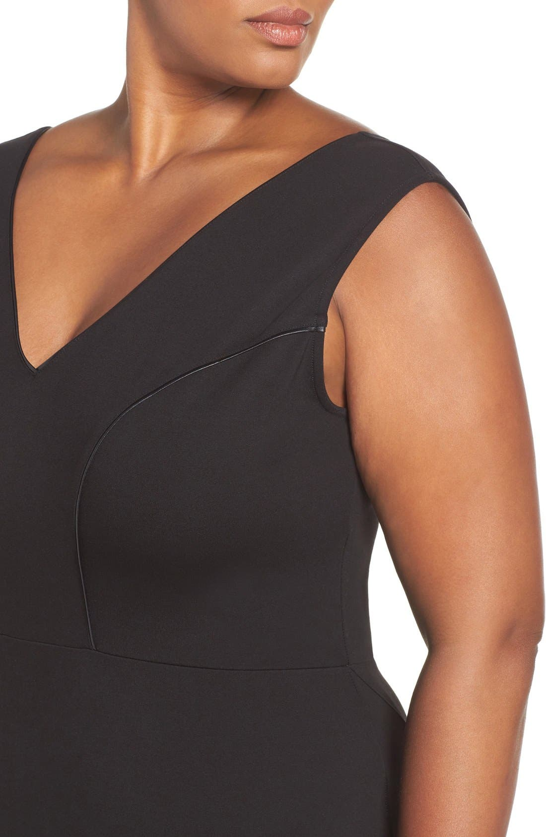 'Viera' Piped Detail V-Neck Sheath Dress,                             Alternate thumbnail 12, color,