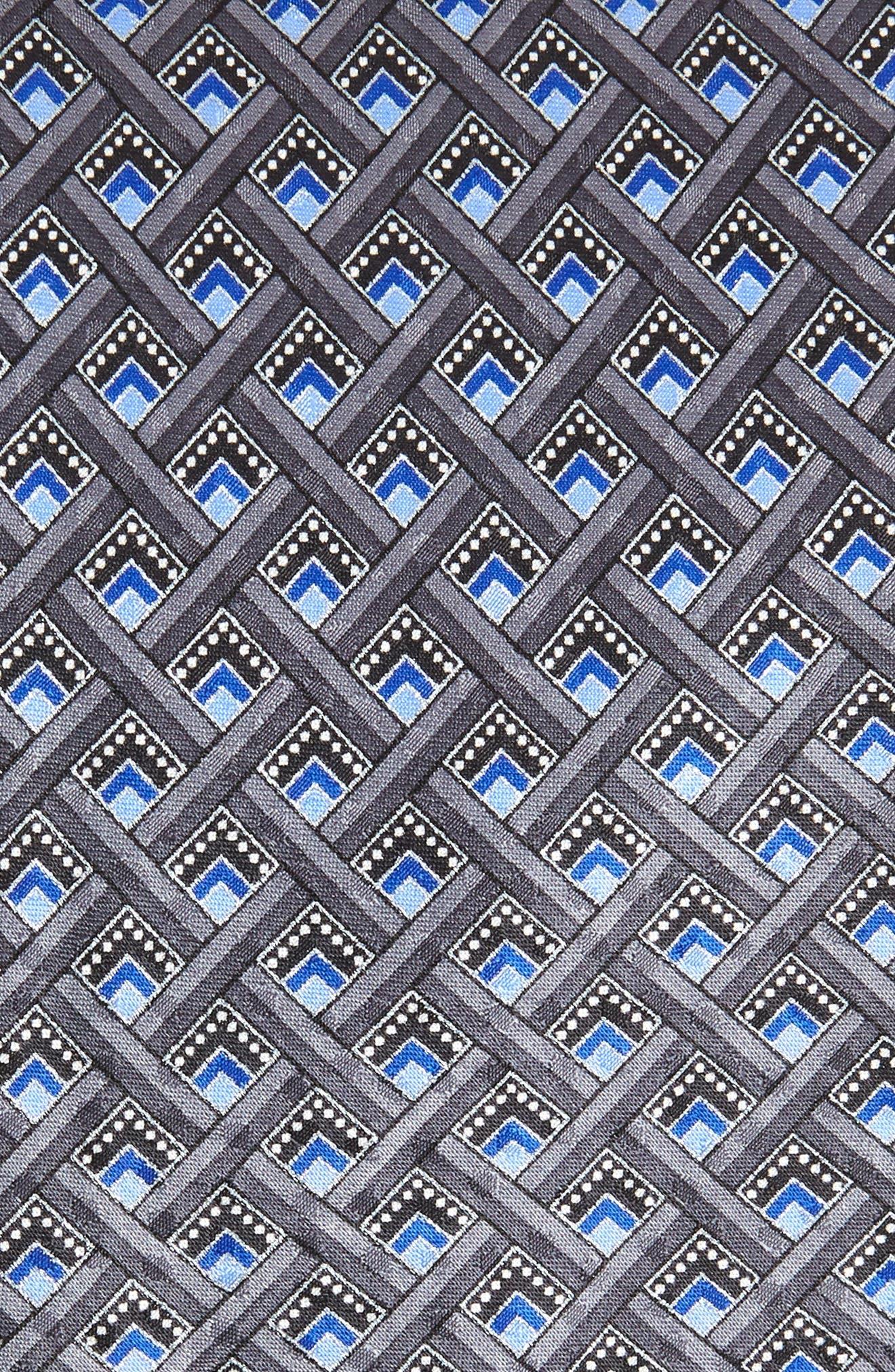 Geometric Silk Tie,                             Alternate thumbnail 2, color,                             SILVER