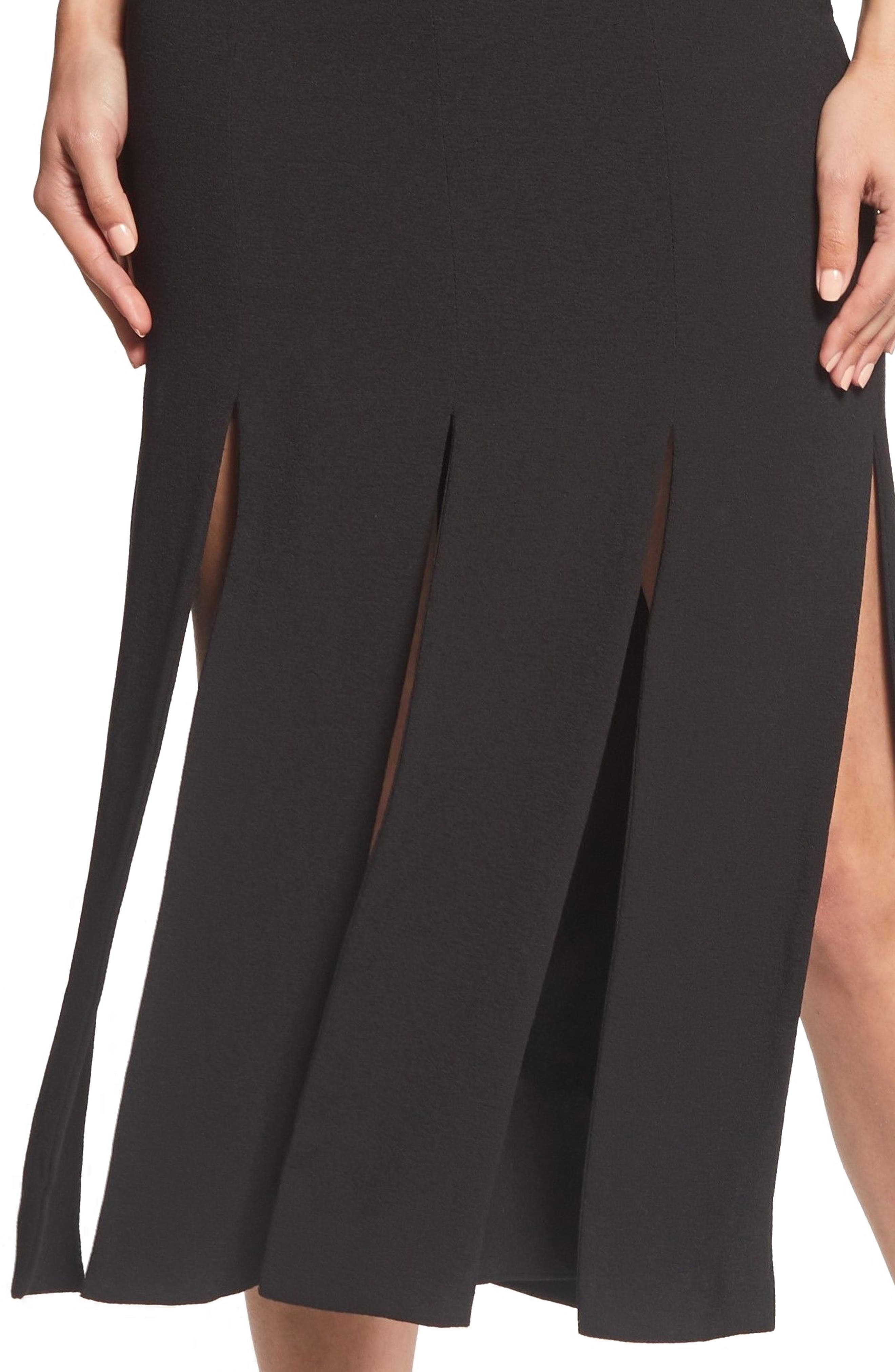 Devon Midi Dress,                             Alternate thumbnail 4, color,                             BLACK